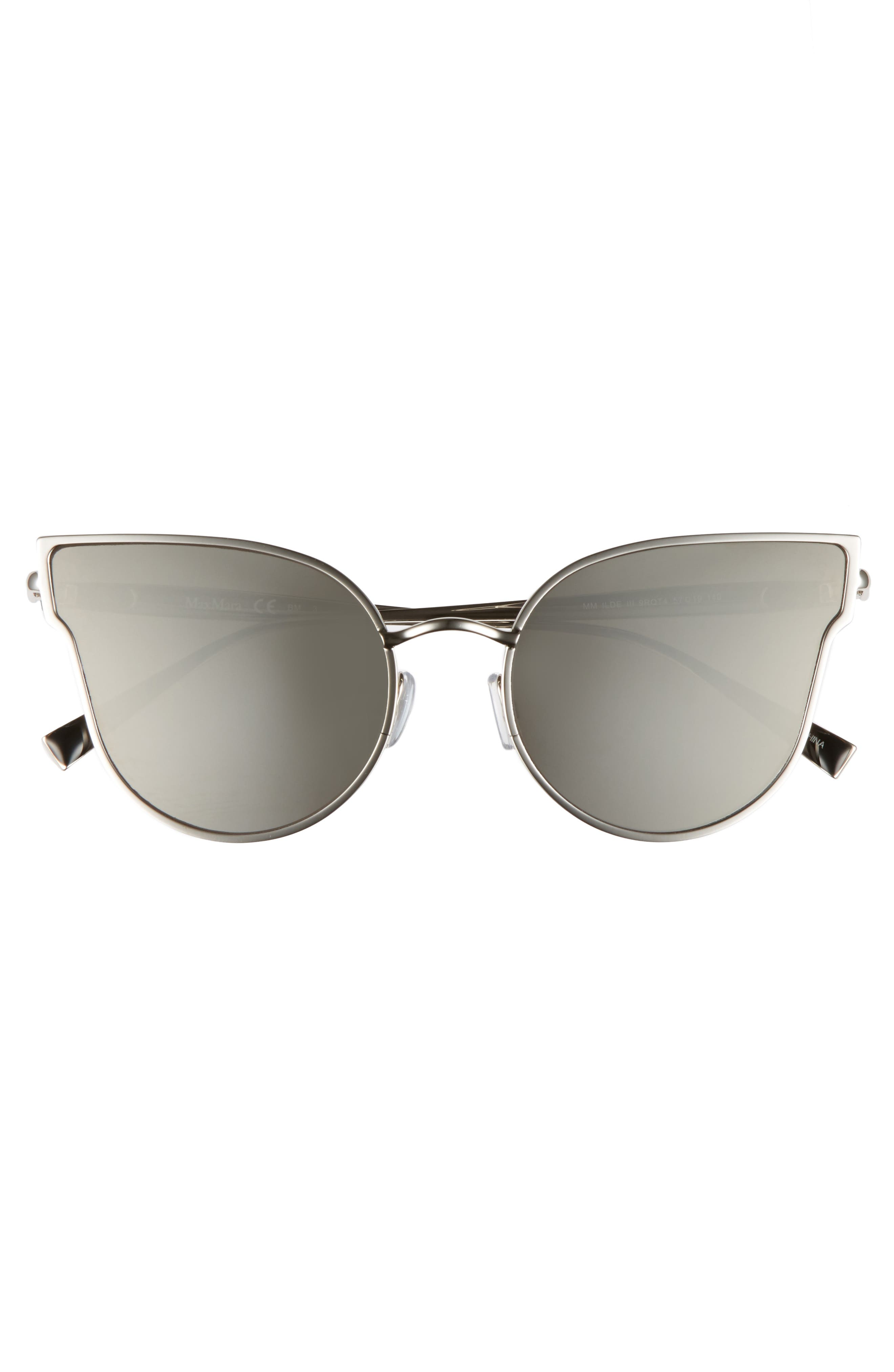 Ilde III 57mm Mirrored Cat Eye Sunglasses,                             Alternate thumbnail 3, color,                             Smoke Silver