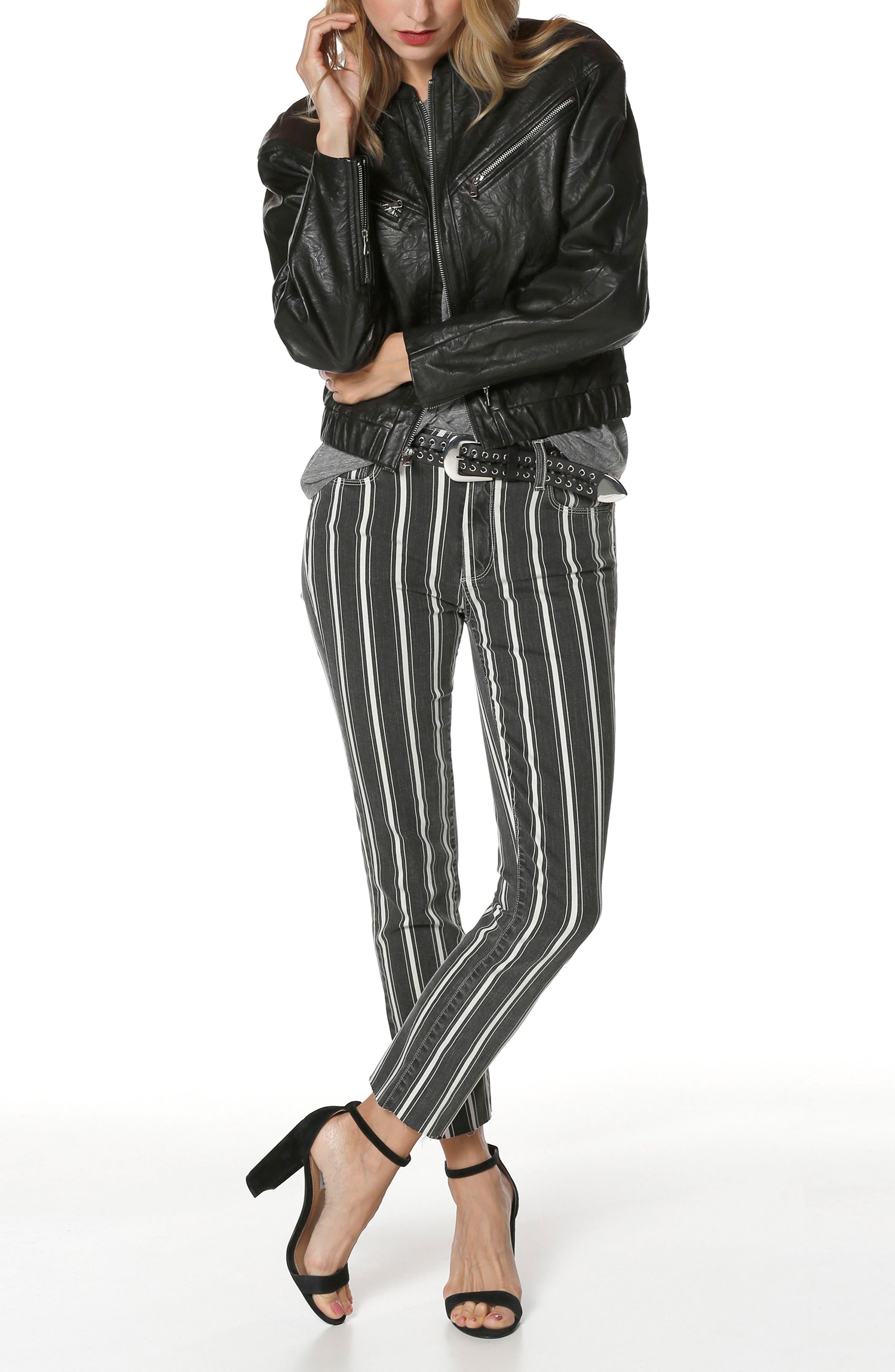 Giana Leather Moto Jacket,                             Alternate thumbnail 3, color,                             Black