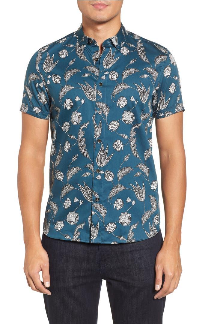 Ted baker london utku floral sport shirt nordstrom for Ted baker floral shirt