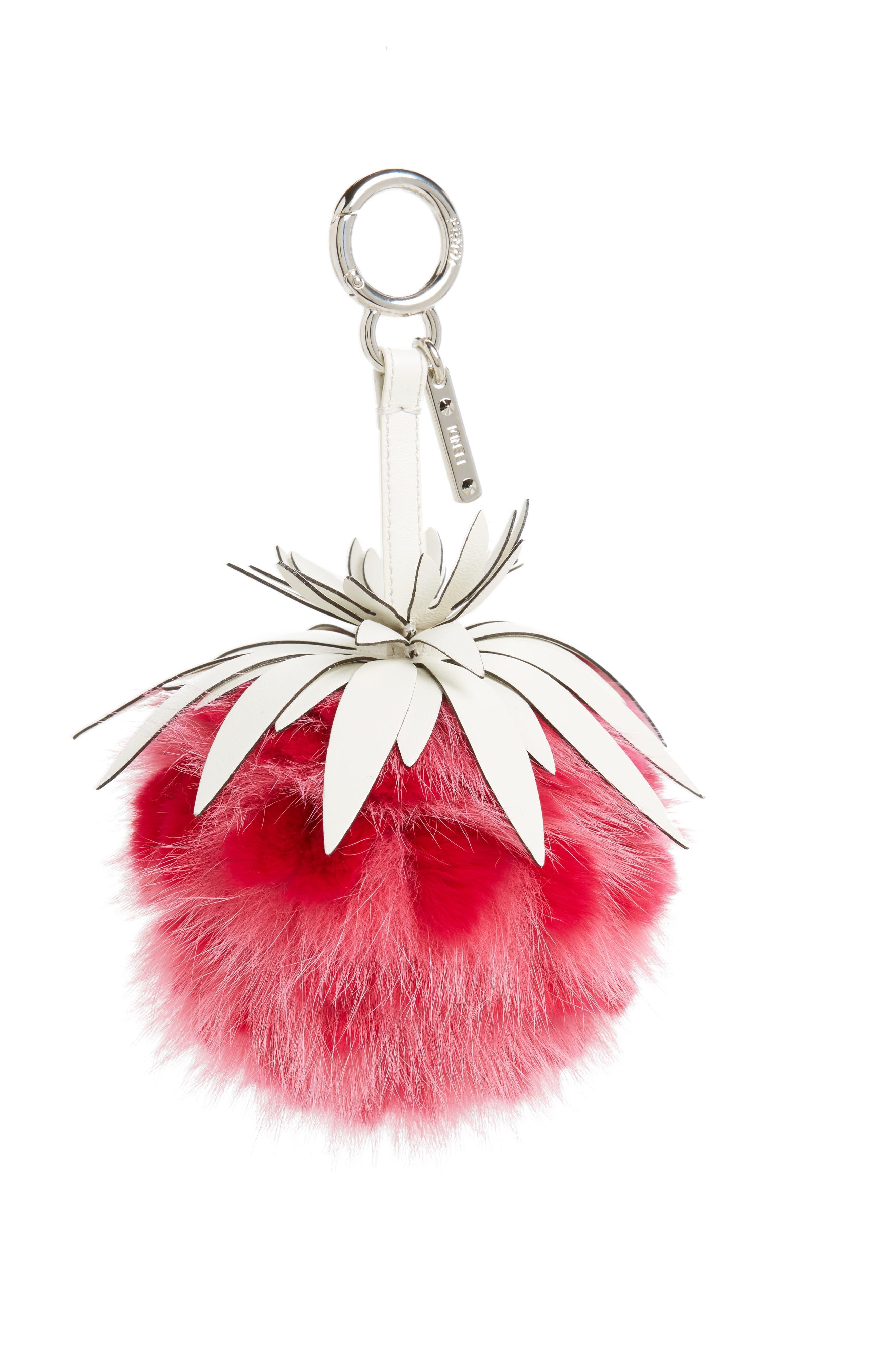 Strawberry Genuine Fox & Rabbit Fur Bag Charm,                         Main,                         color, Fuchsia