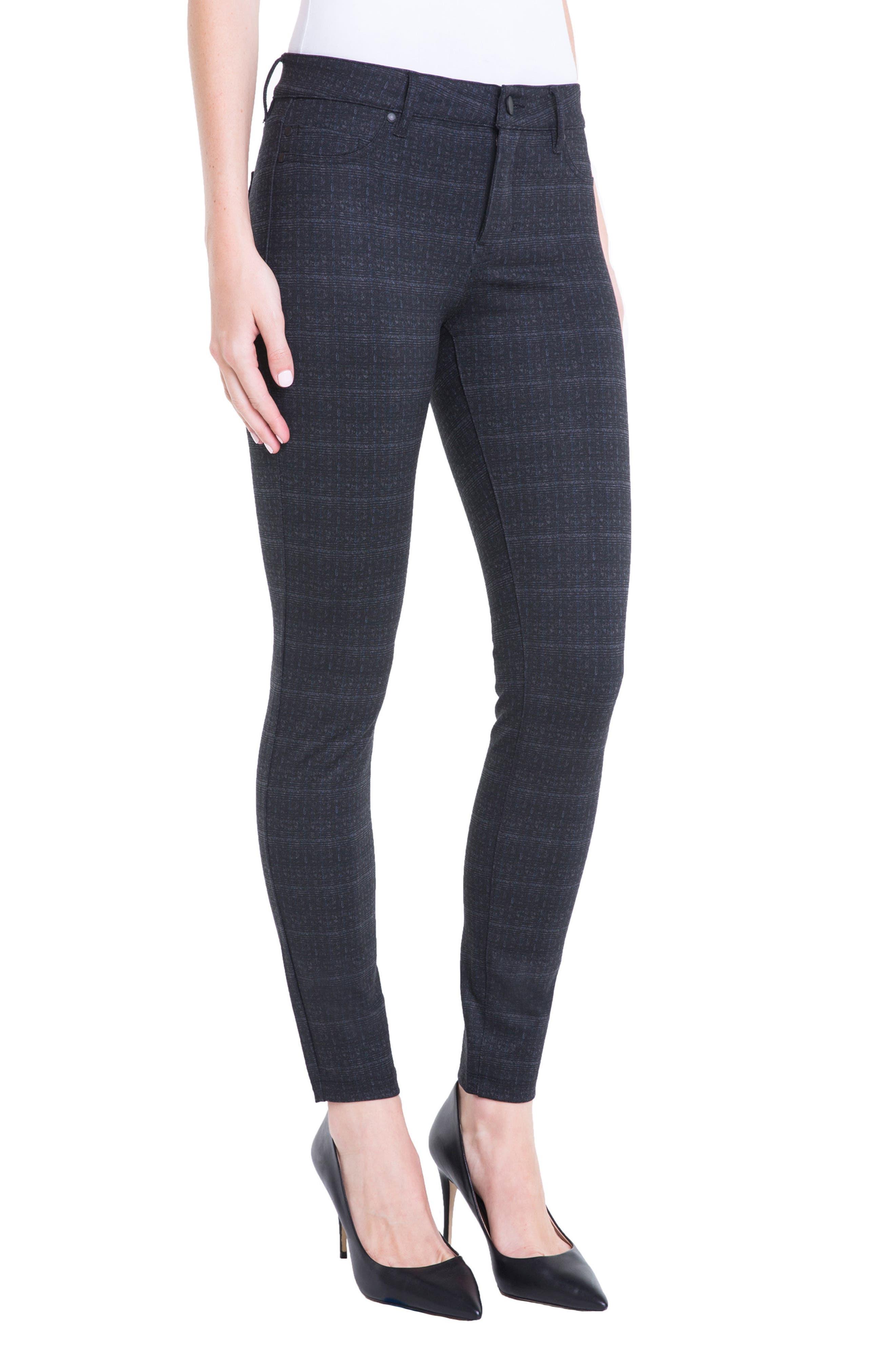 Plaid Super Skinny Ponte Knit Pants,                             Alternate thumbnail 3, color,                             Charcoal Shadow Plaid