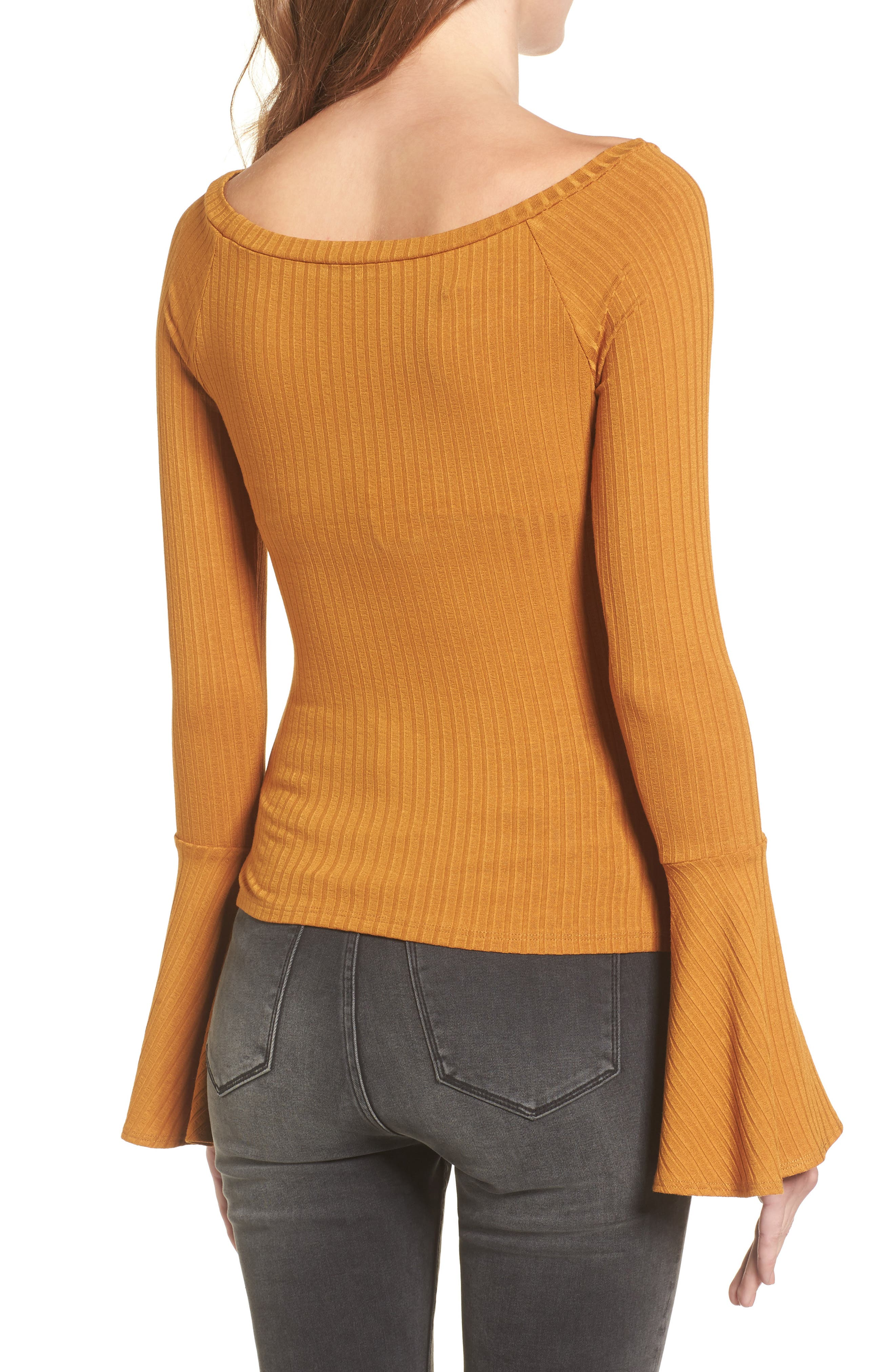 Bell Sleeve Ribbed Top,                             Alternate thumbnail 2, color,                             Mustard