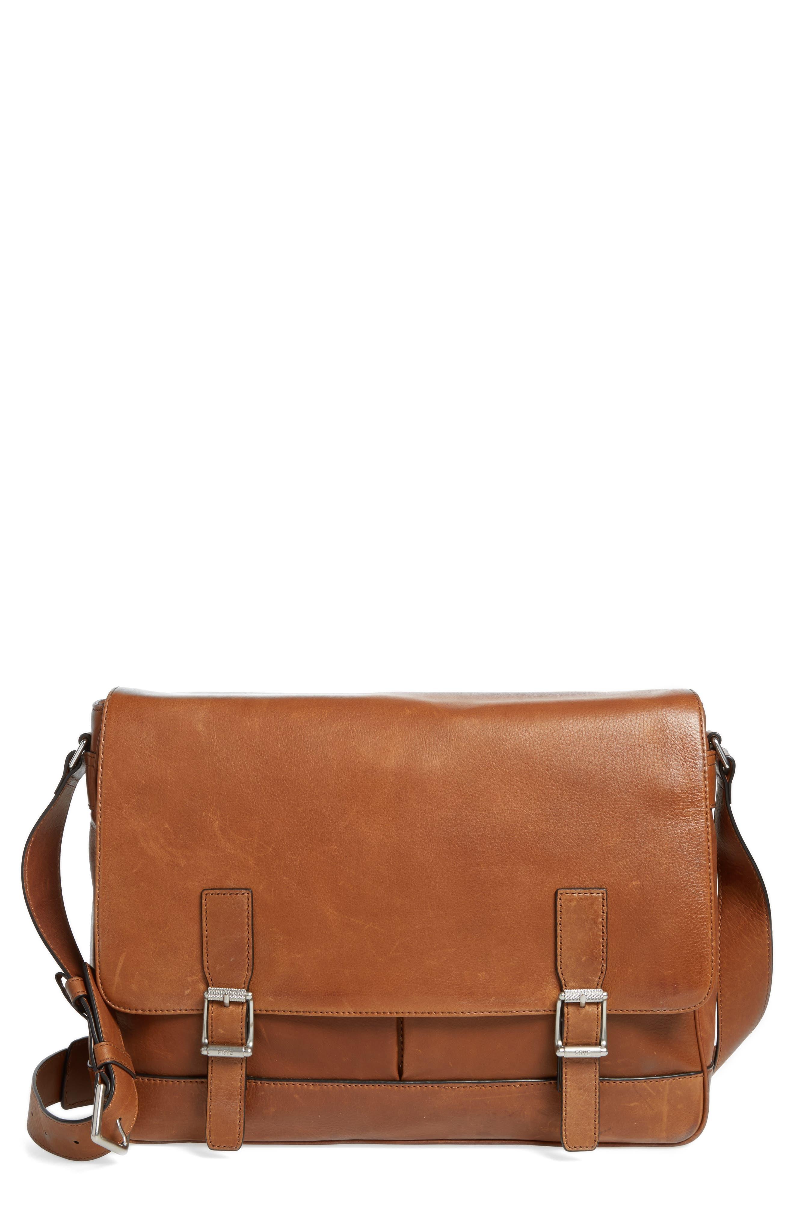 Oliver Leather Messenger Bag,                             Main thumbnail 1, color,                             Cognac