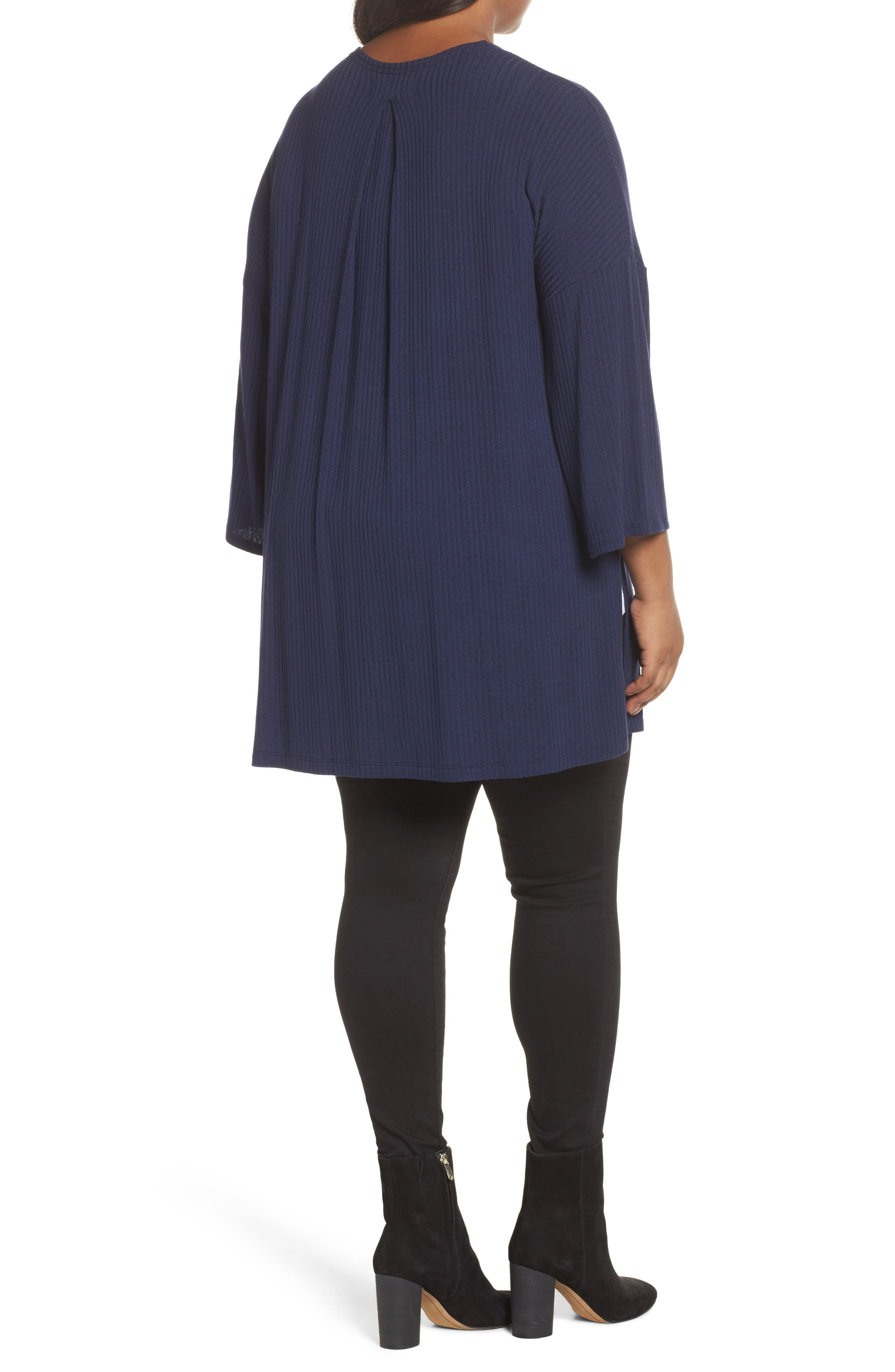 Ribbed Open-Front Cardigan,                             Alternate thumbnail 2, color,                             Navy Peacoat