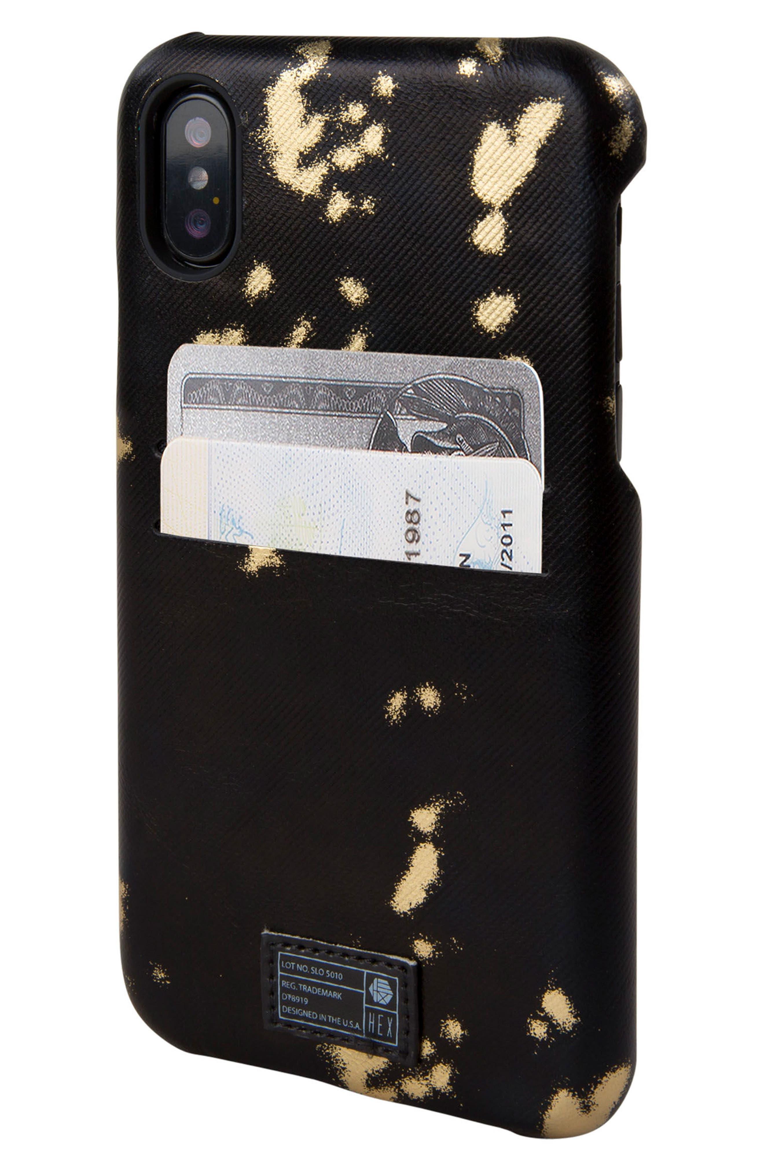 Solo iPhone X Wallet Case,                             Alternate thumbnail 2, color,                             Black/ Gold