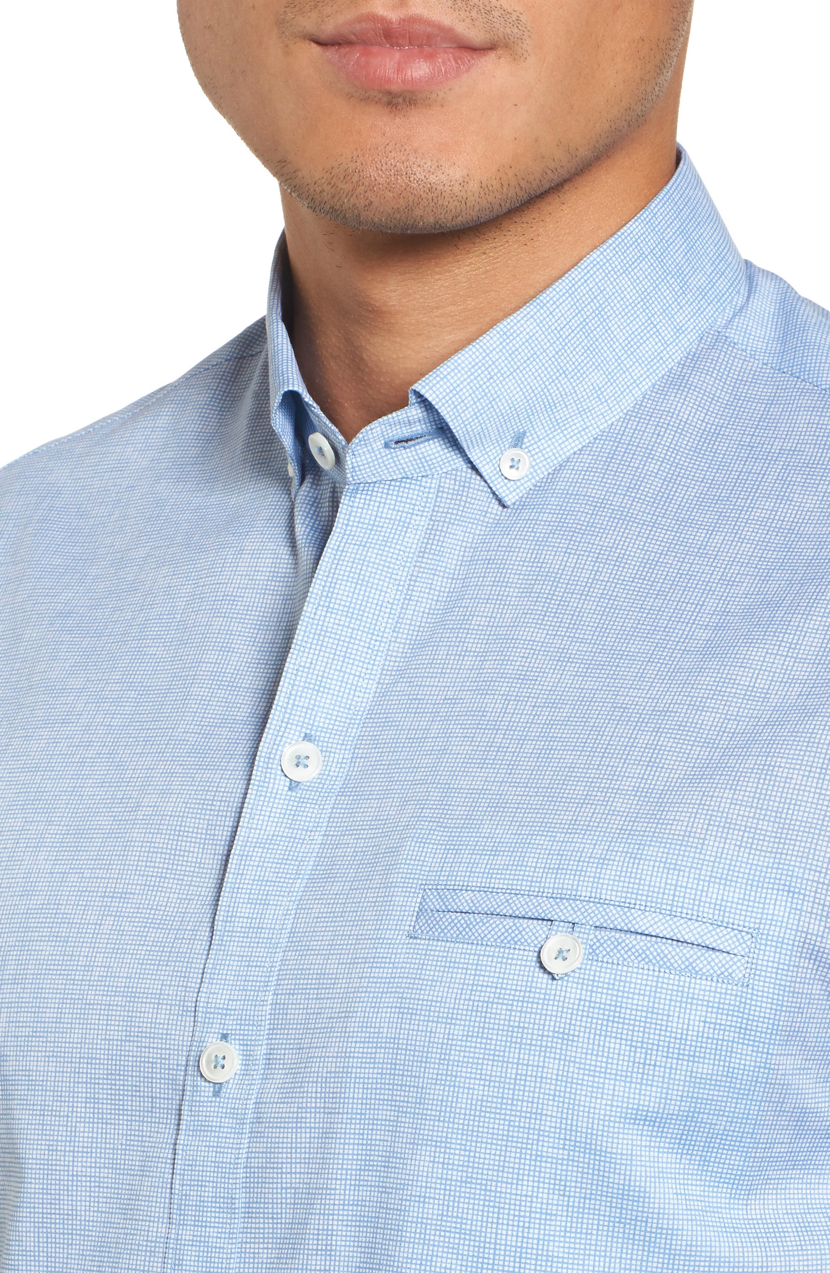 Forrest Textured Woven Sport Shirt,                             Alternate thumbnail 4, color,                             Ice Blue