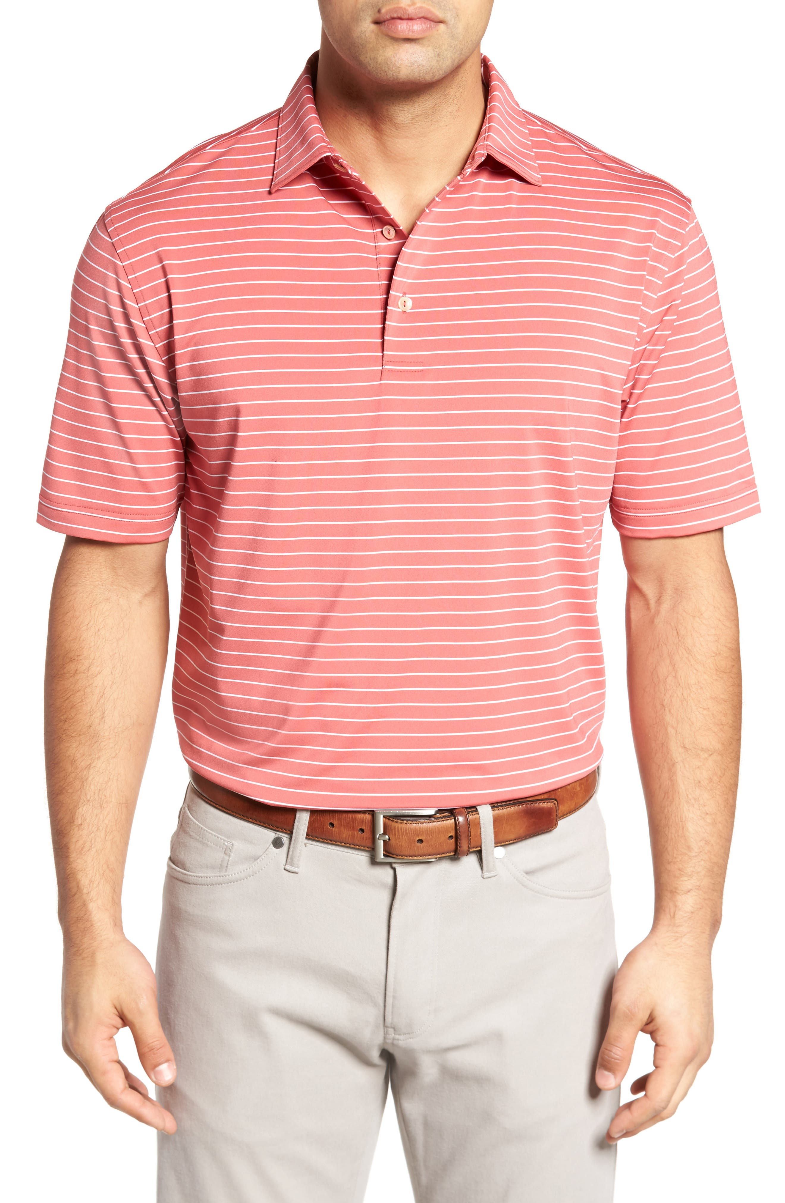 Halifax Pinstripe Stretch Jersey Polo,                         Main,                         color, Cape Red