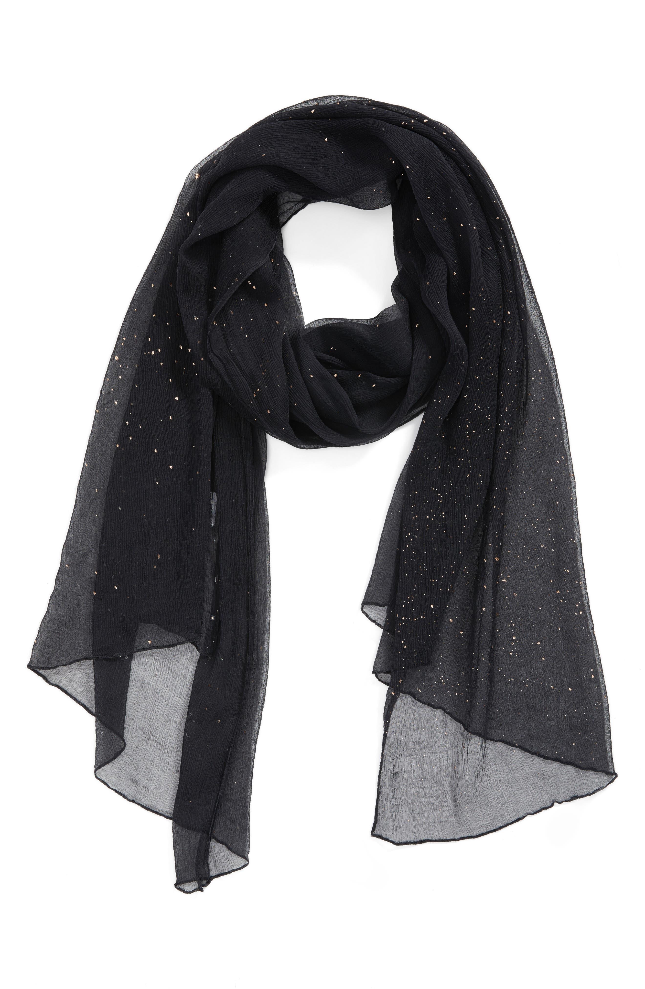 Metallic Fleck Silk Scarf,                             Alternate thumbnail 2, color,                             Black