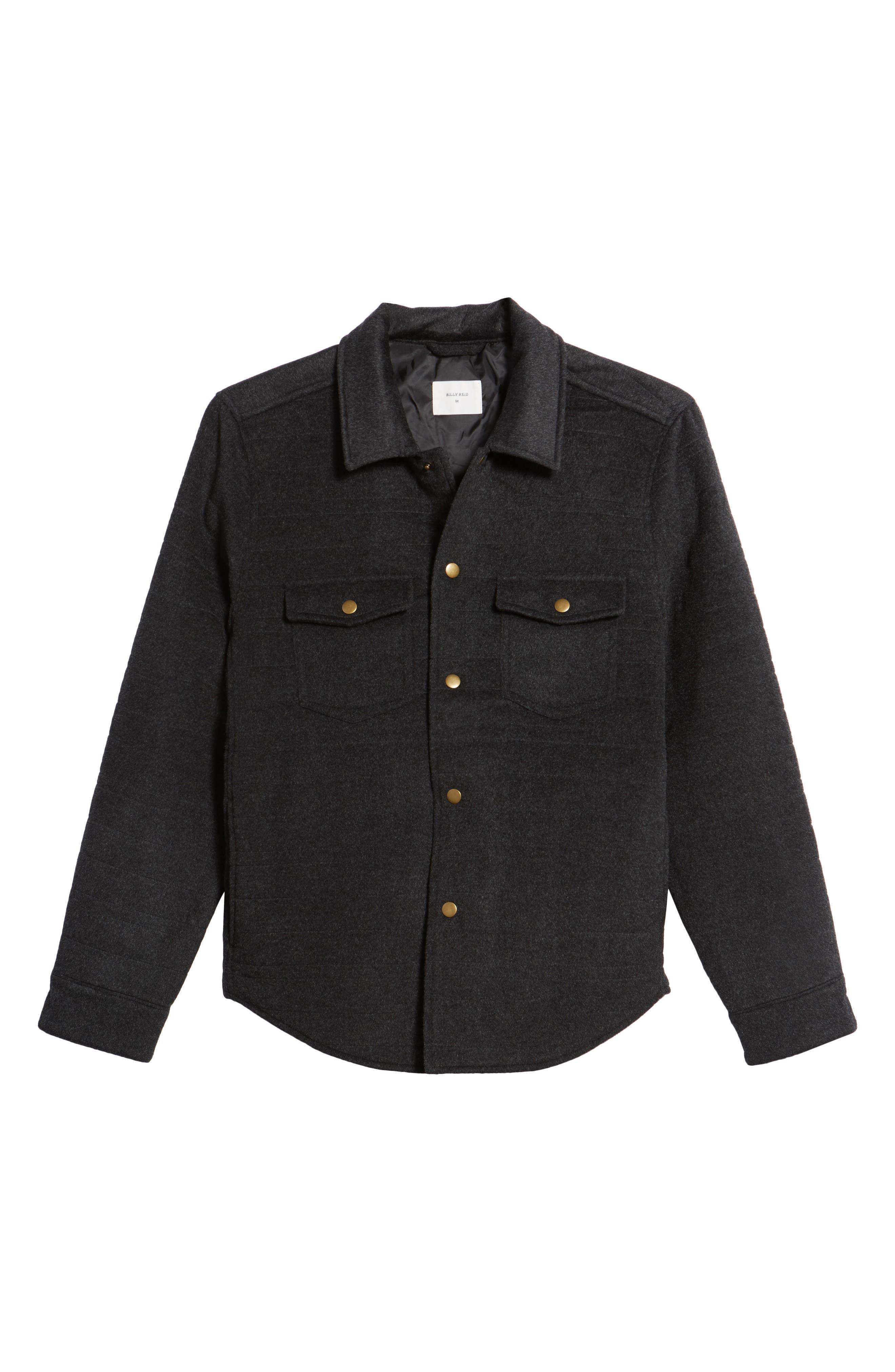 Michael Slim Fit Quilted Shirt Jacket,                             Alternate thumbnail 6, color,                             Dark Char Melange