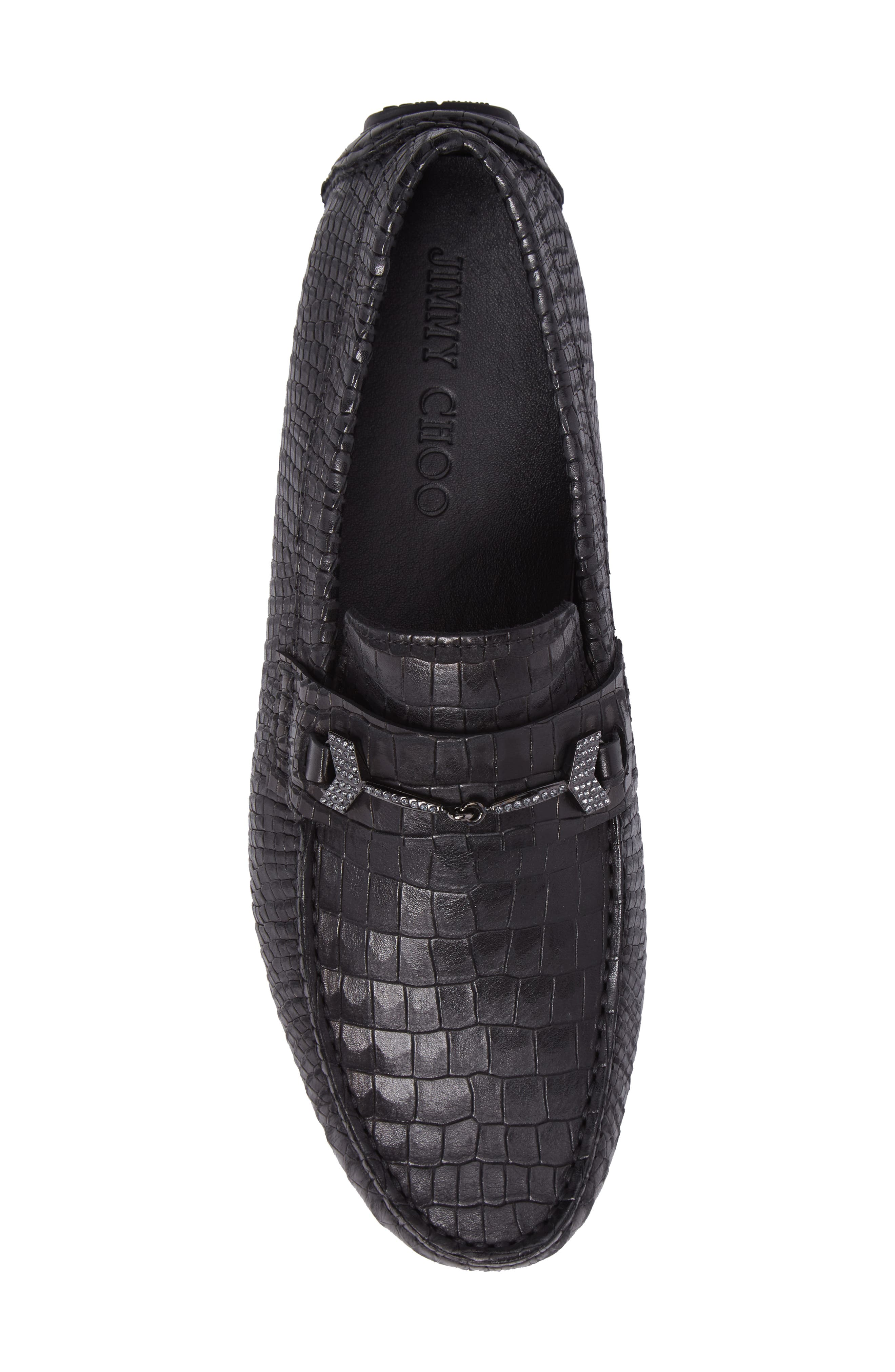 Brewer Croc Textured Driving Loafer,                             Alternate thumbnail 5, color,                             Black