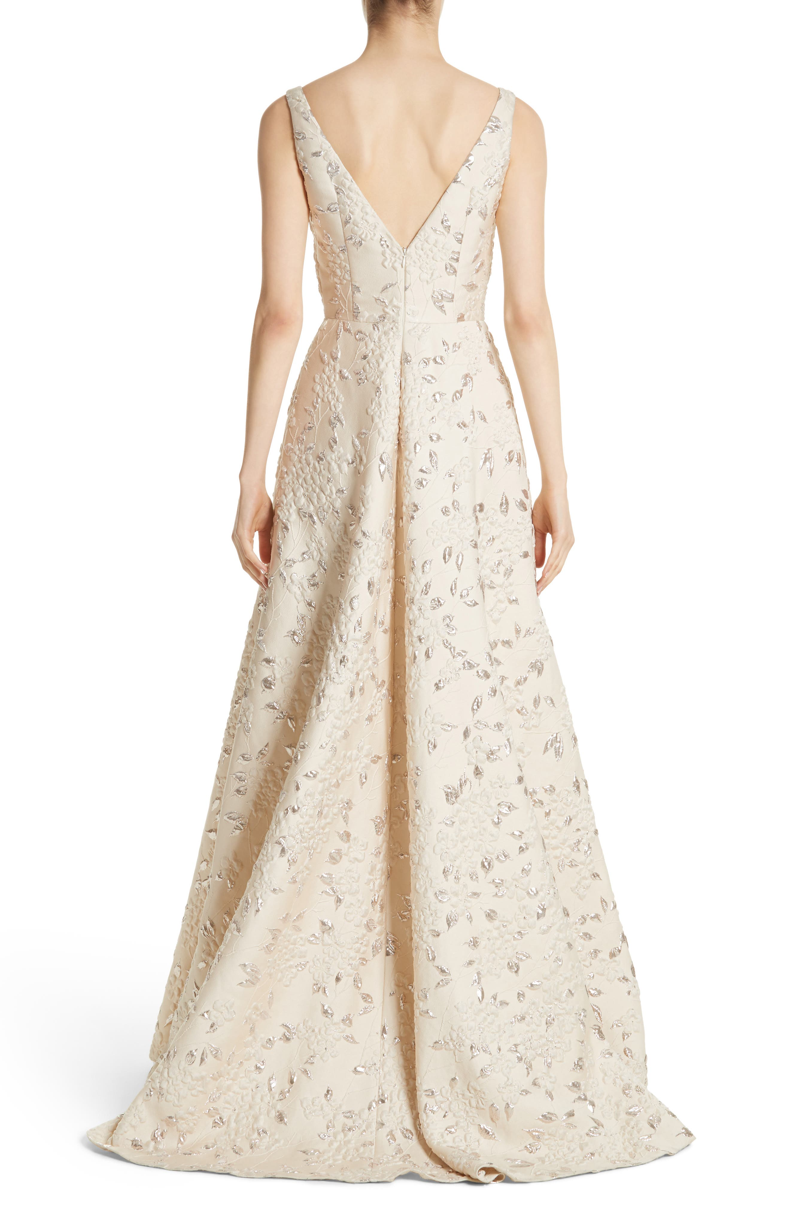 Alternate Image 2  - Carmen Marc Valvo Couture Reembroidered Cloqué Gown