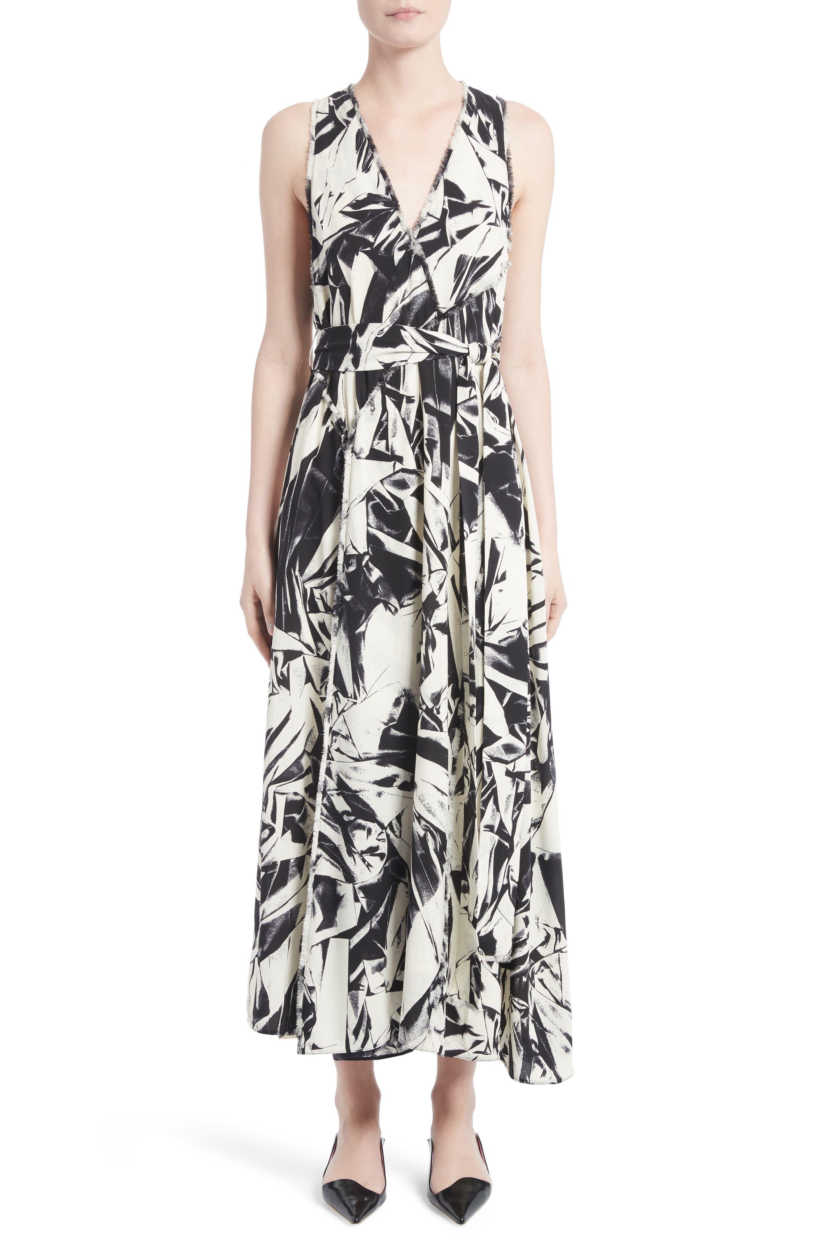 Print Silk Georgette Maxi Dress,                         Main,                         color, Ecru/ Black Crushed Print