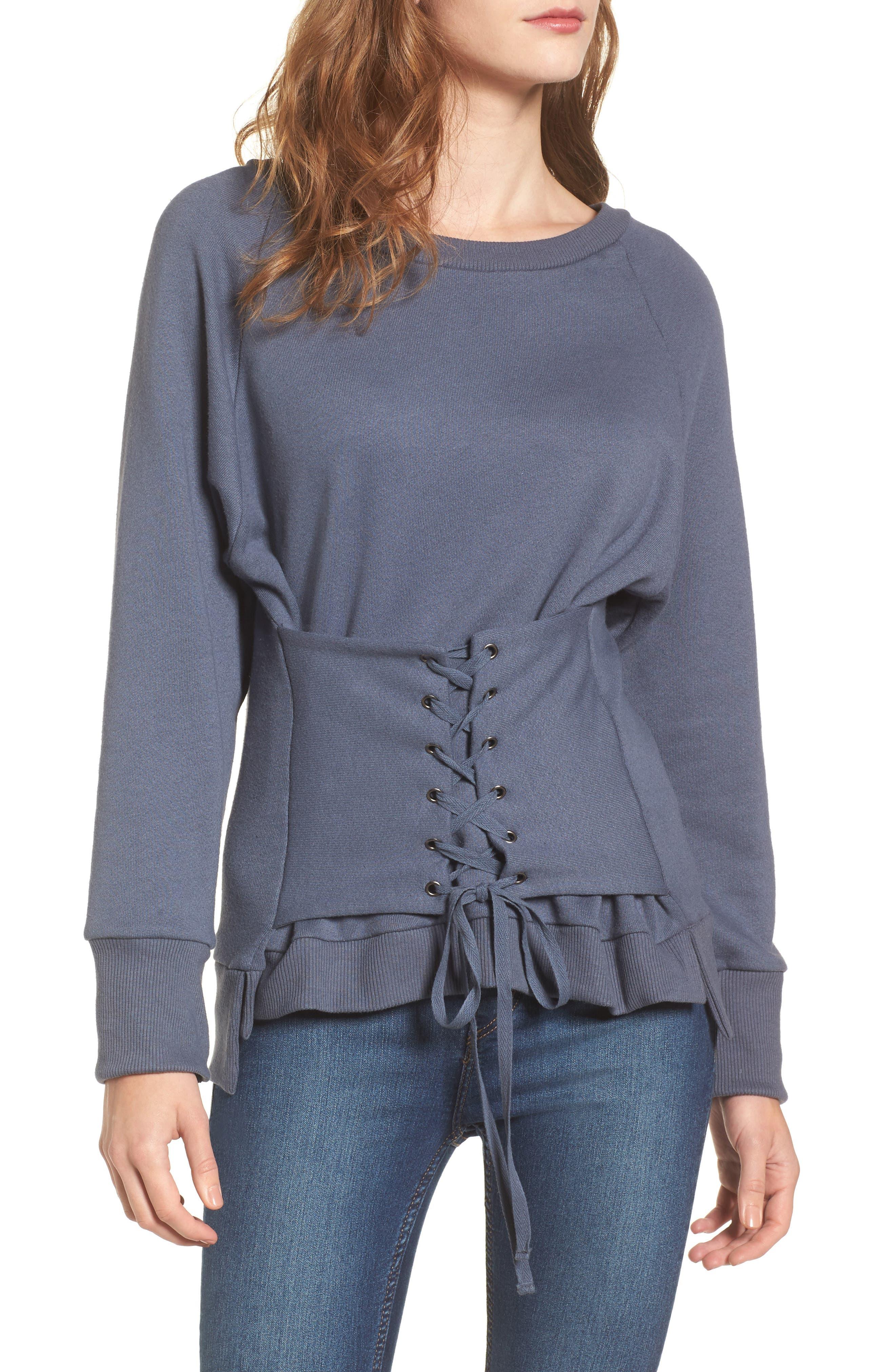 Corset Sweatshirt,                             Main thumbnail 1, color,                             Steel