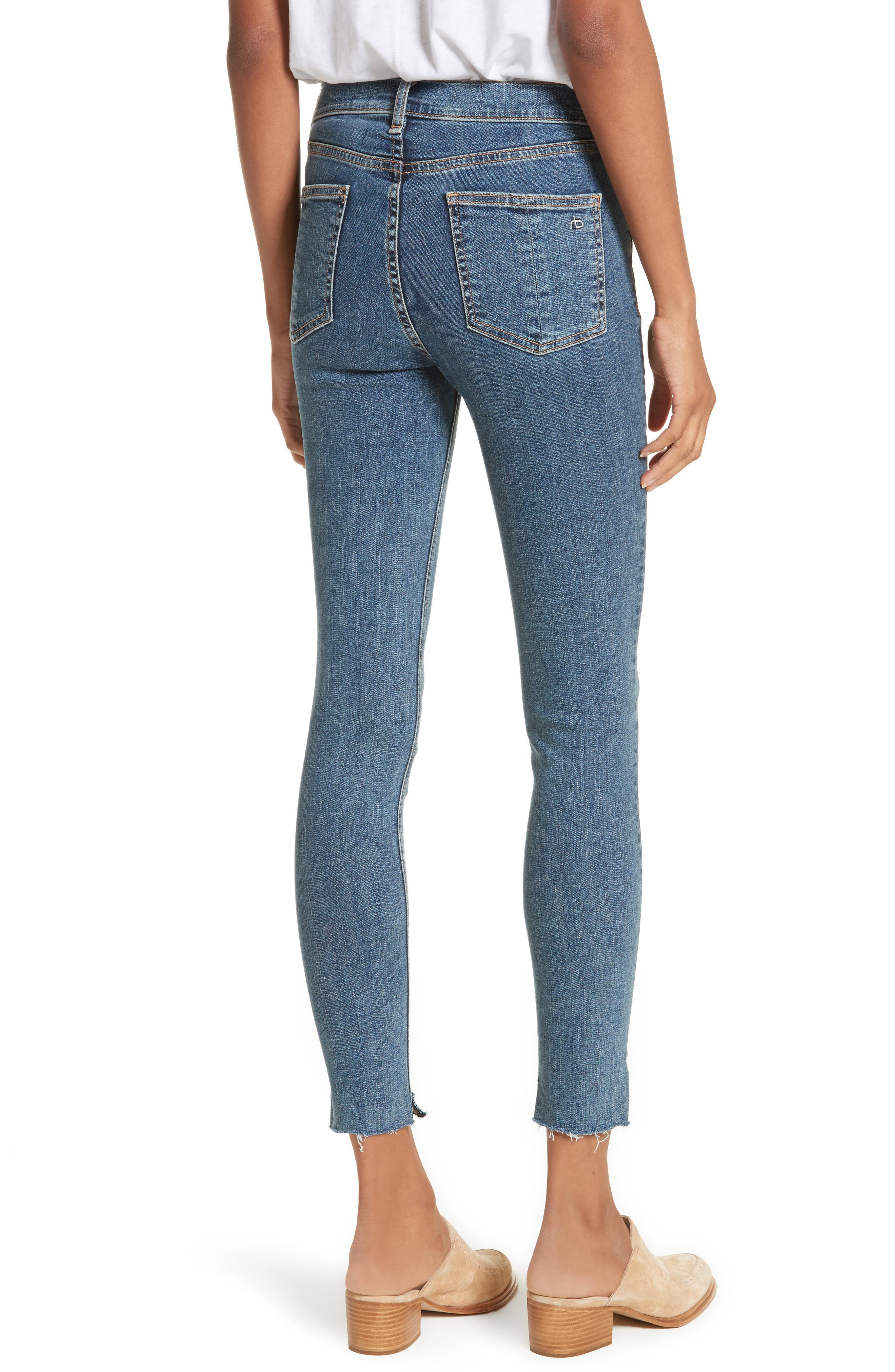 High Waist Ankle Skinny Jeans,                             Alternate thumbnail 2, color,                             Clean Commodore
