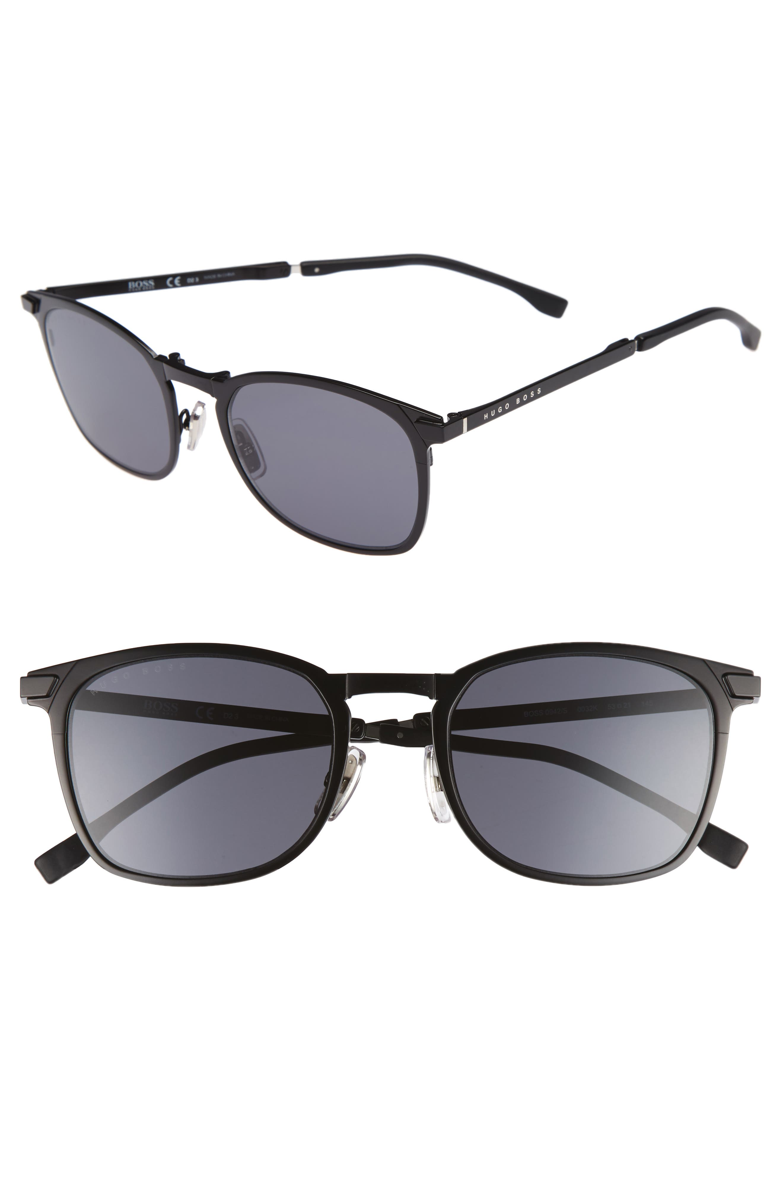 53mm Sunglasses,                             Main thumbnail 1, color,                             Matte Black/ Gray