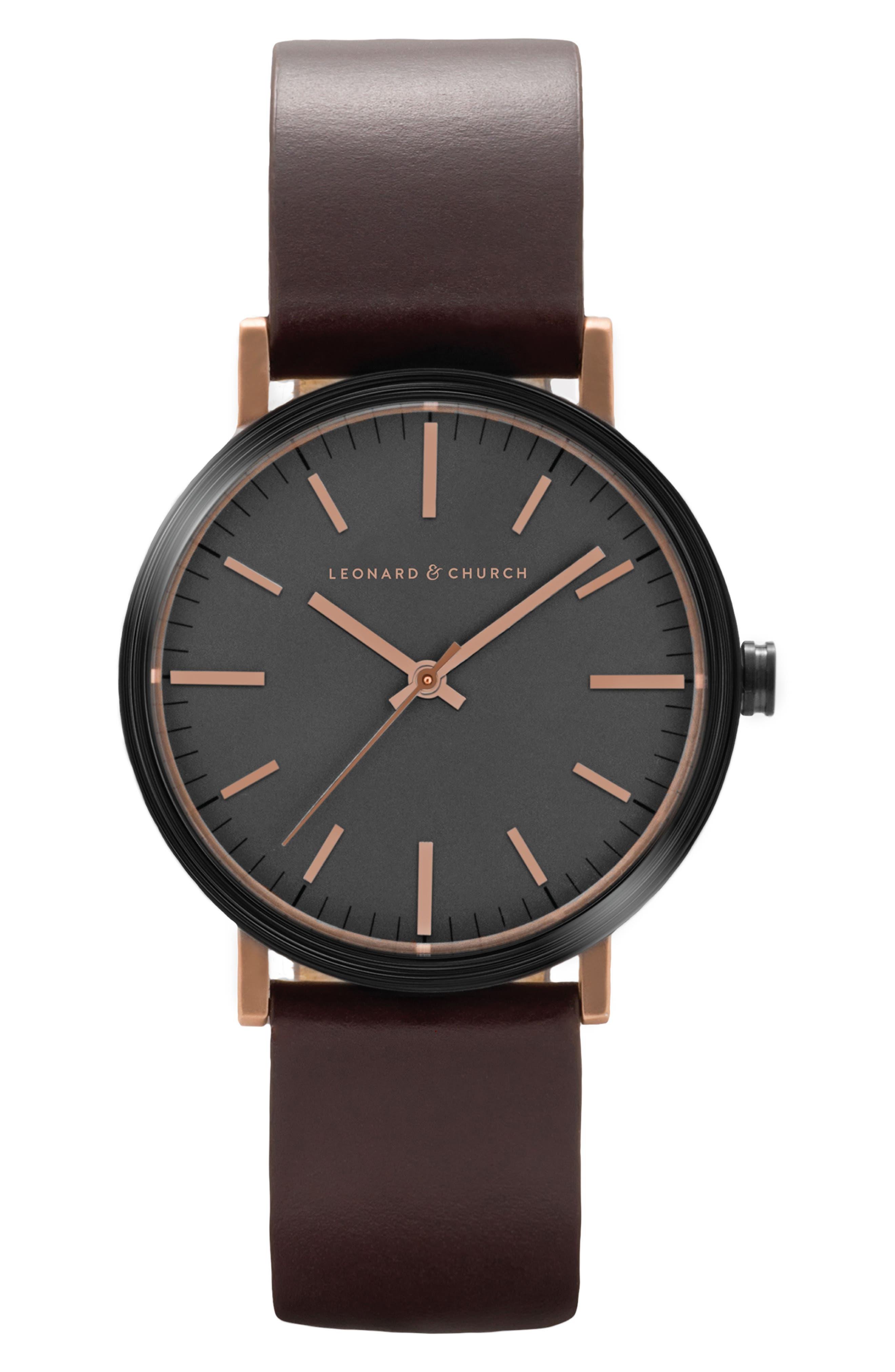 Leonard & Church Thompson Leather Strap Watch, 40mm,                         Main,                         color, Coffee/ Black/ Rose Gold