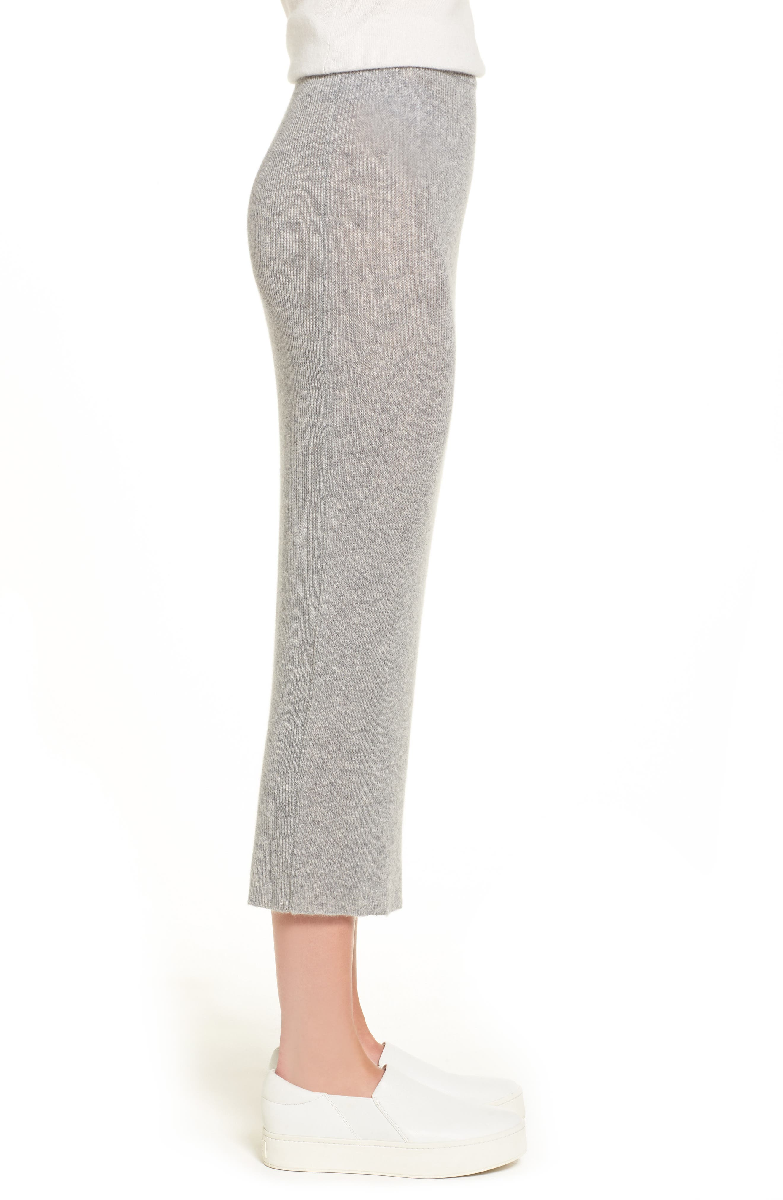 Cashmere Skirt,                             Alternate thumbnail 3, color,                             Heather Grey