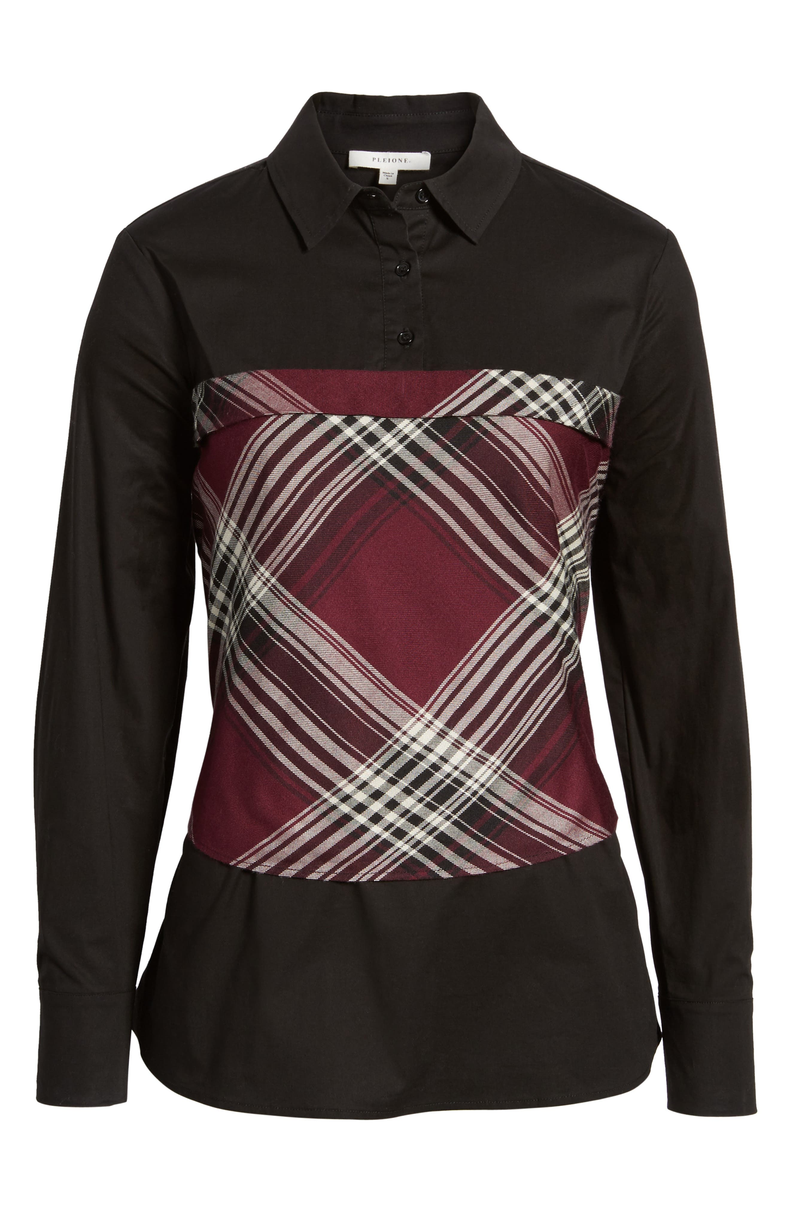 Plaid Corset Shirt,                             Alternate thumbnail 6, color,                             Wine/ Black Plaid/ Black