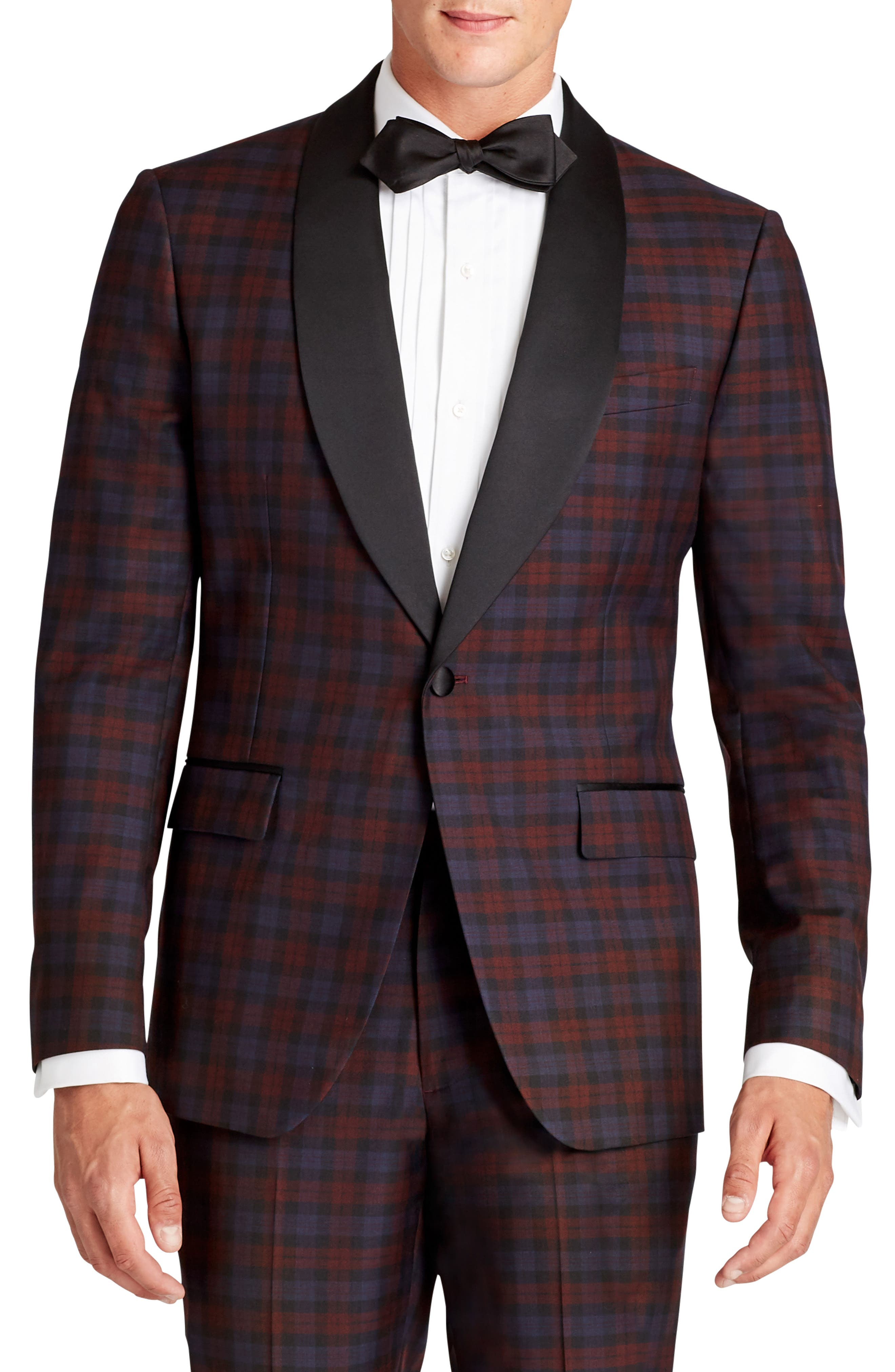 Bonobos Jetsetter Trim Fit Plaid Wool Dinner Jacket