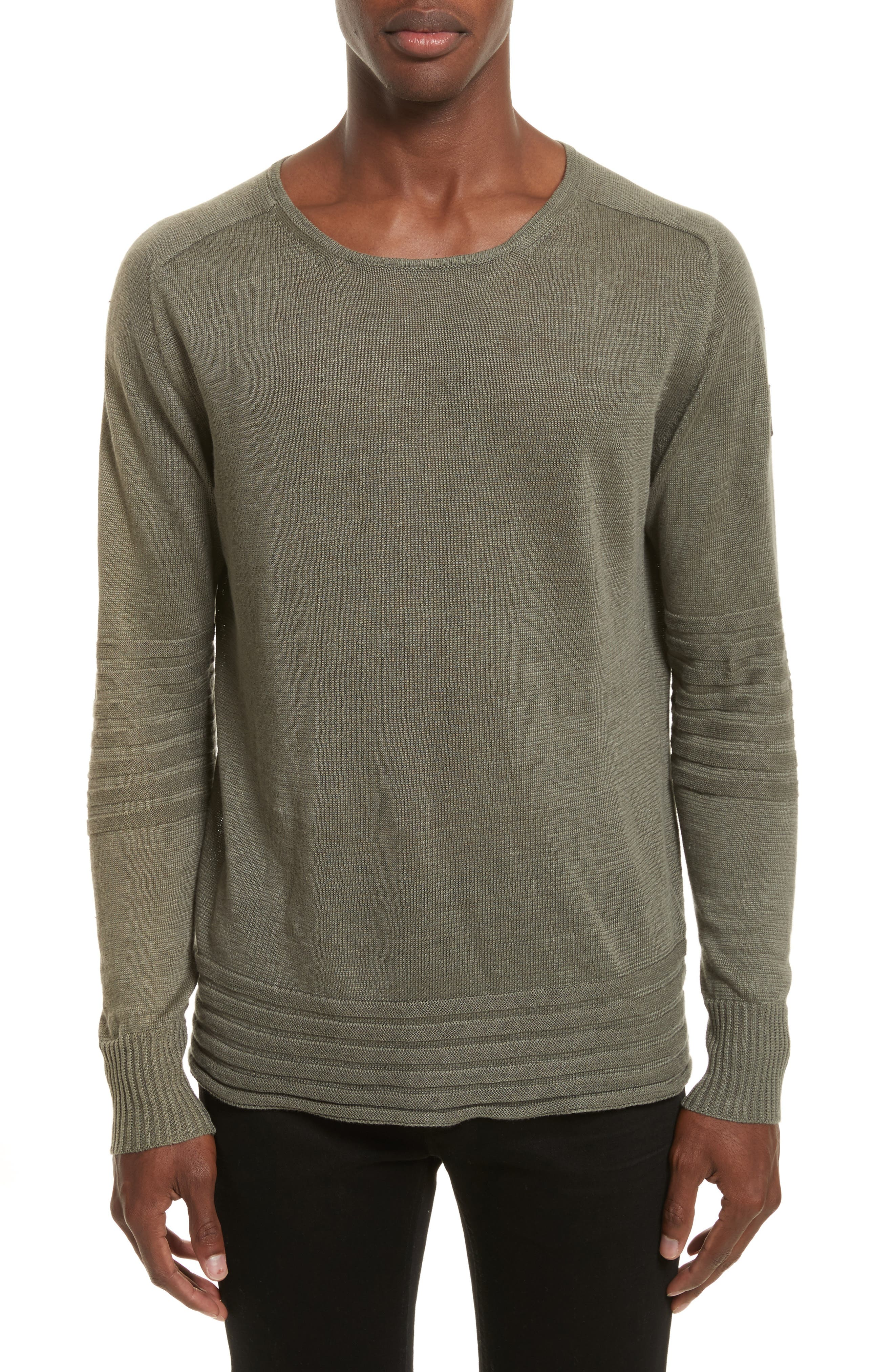 Exford Linen Crewneck Sweater,                         Main,                         color, Slate Green