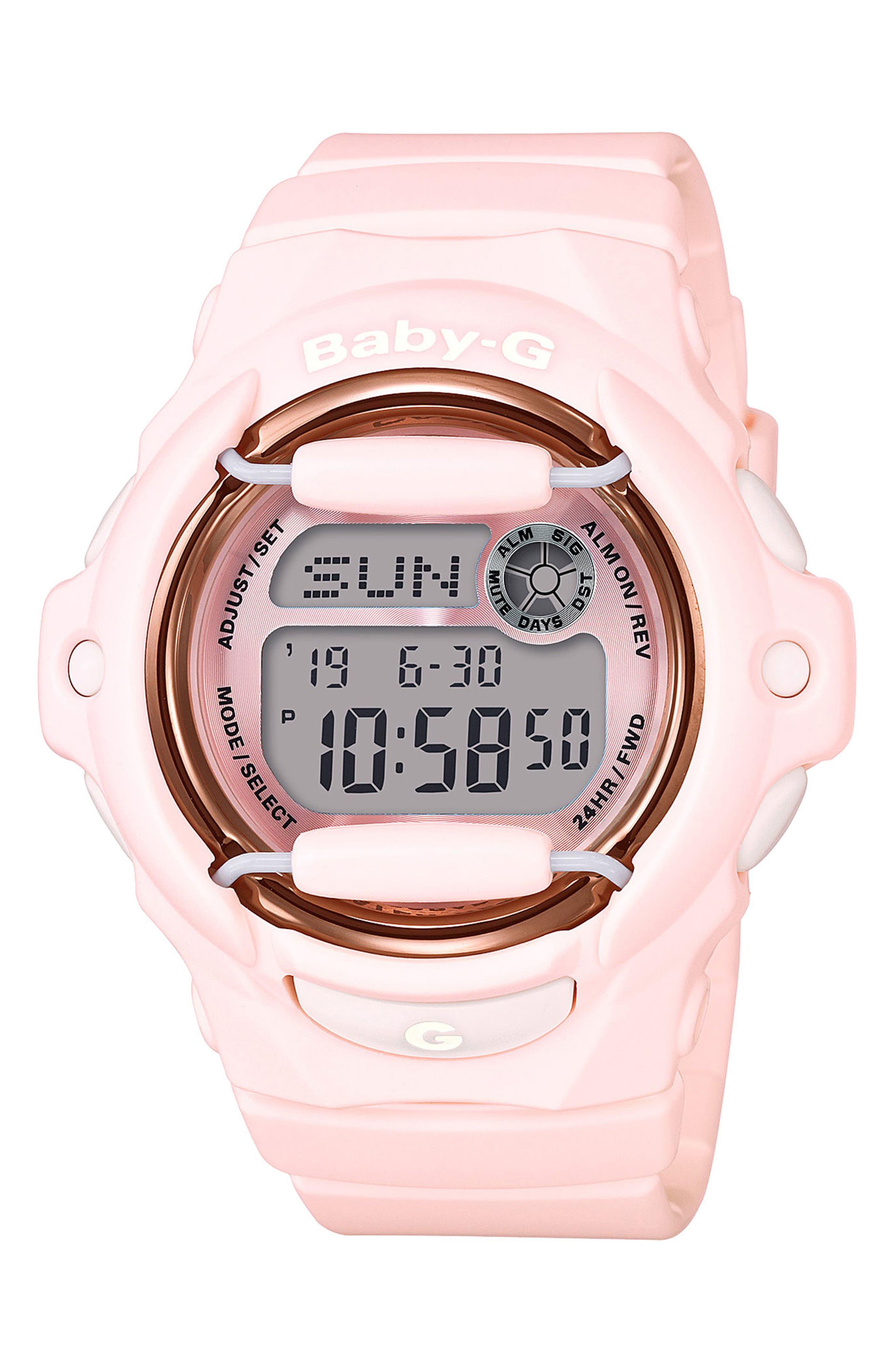 Resin Ana-Digi Watch, 42.6mm,                         Main,                         color, Pink