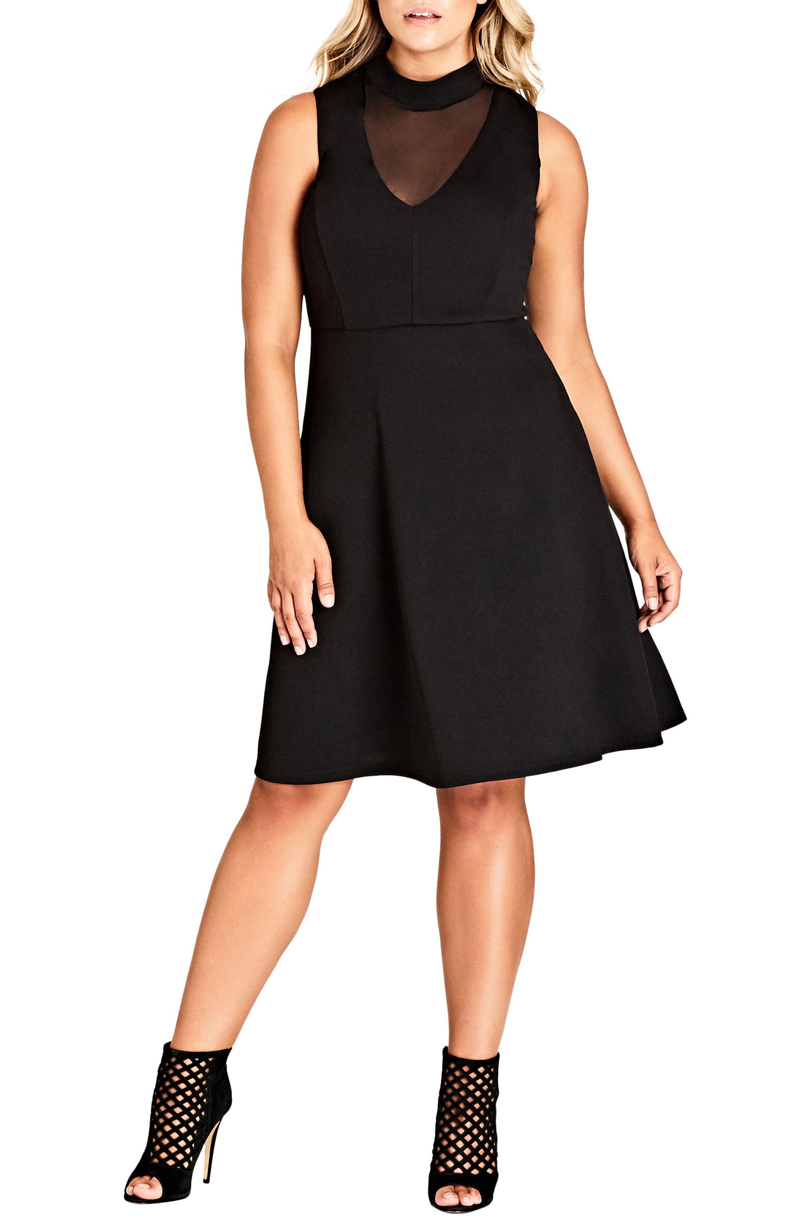 Sheer Neck A-Line Dress,                         Main,                         color, Black