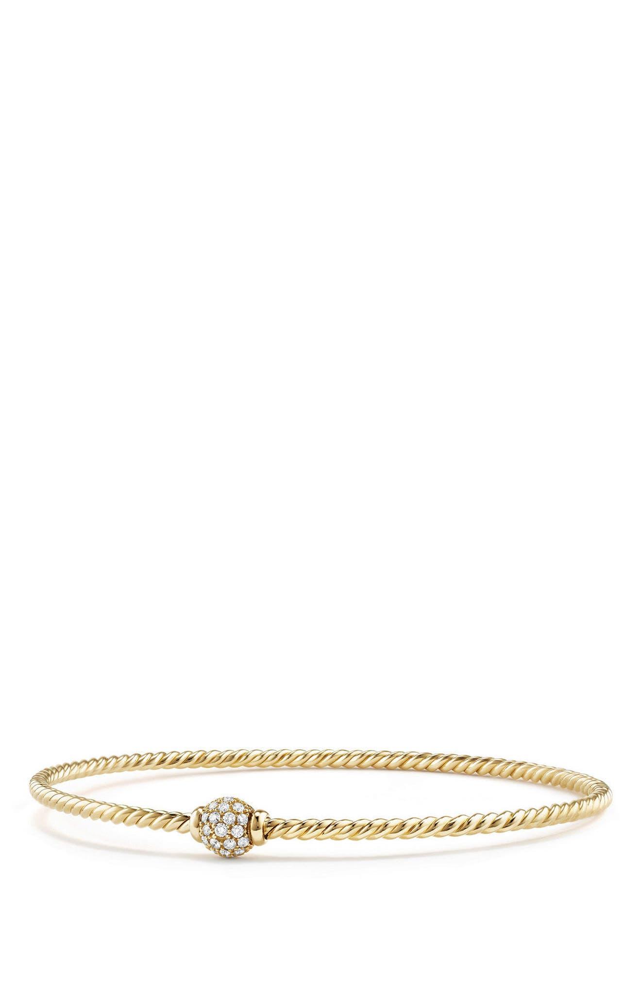 David Yurman Solari Station Pavé Bracelet with Diamonds in 18K Gold