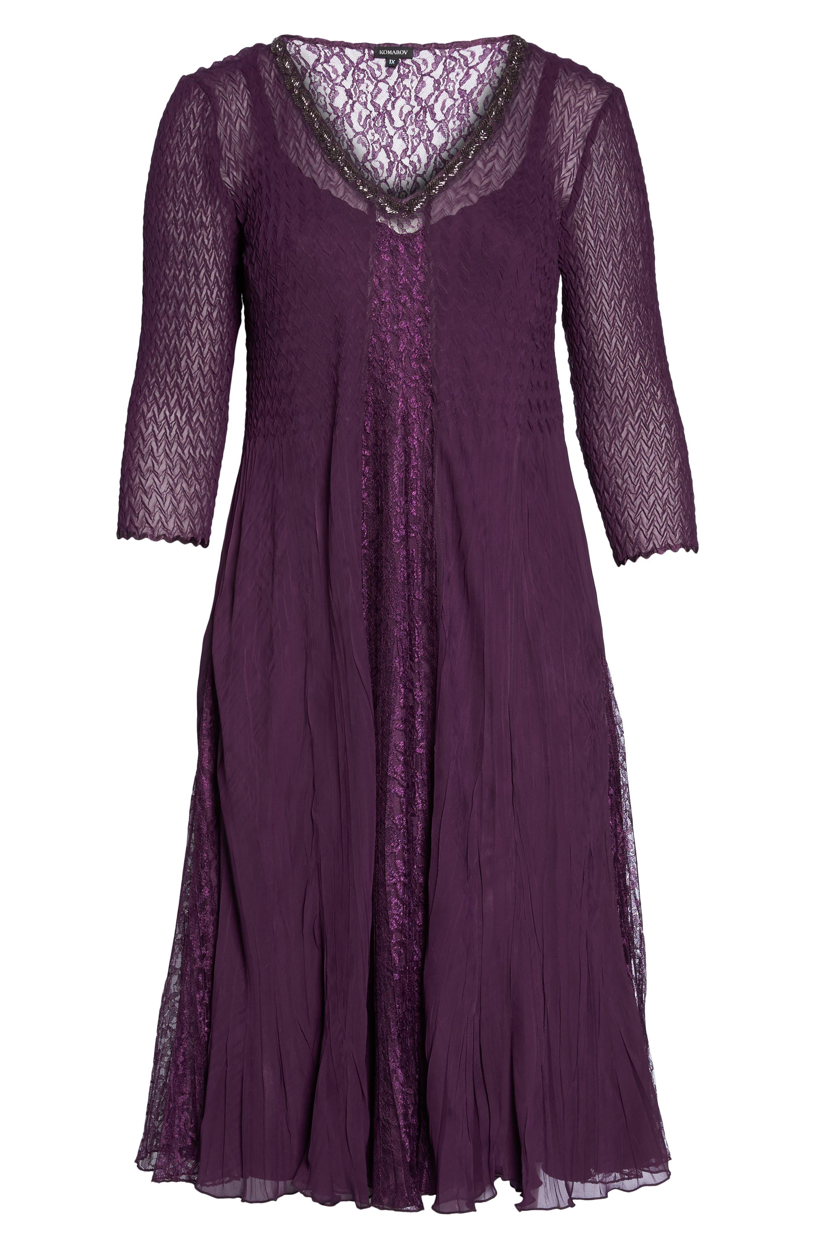 Center Front Lace Dress,                             Alternate thumbnail 6, color,                             Aubergine