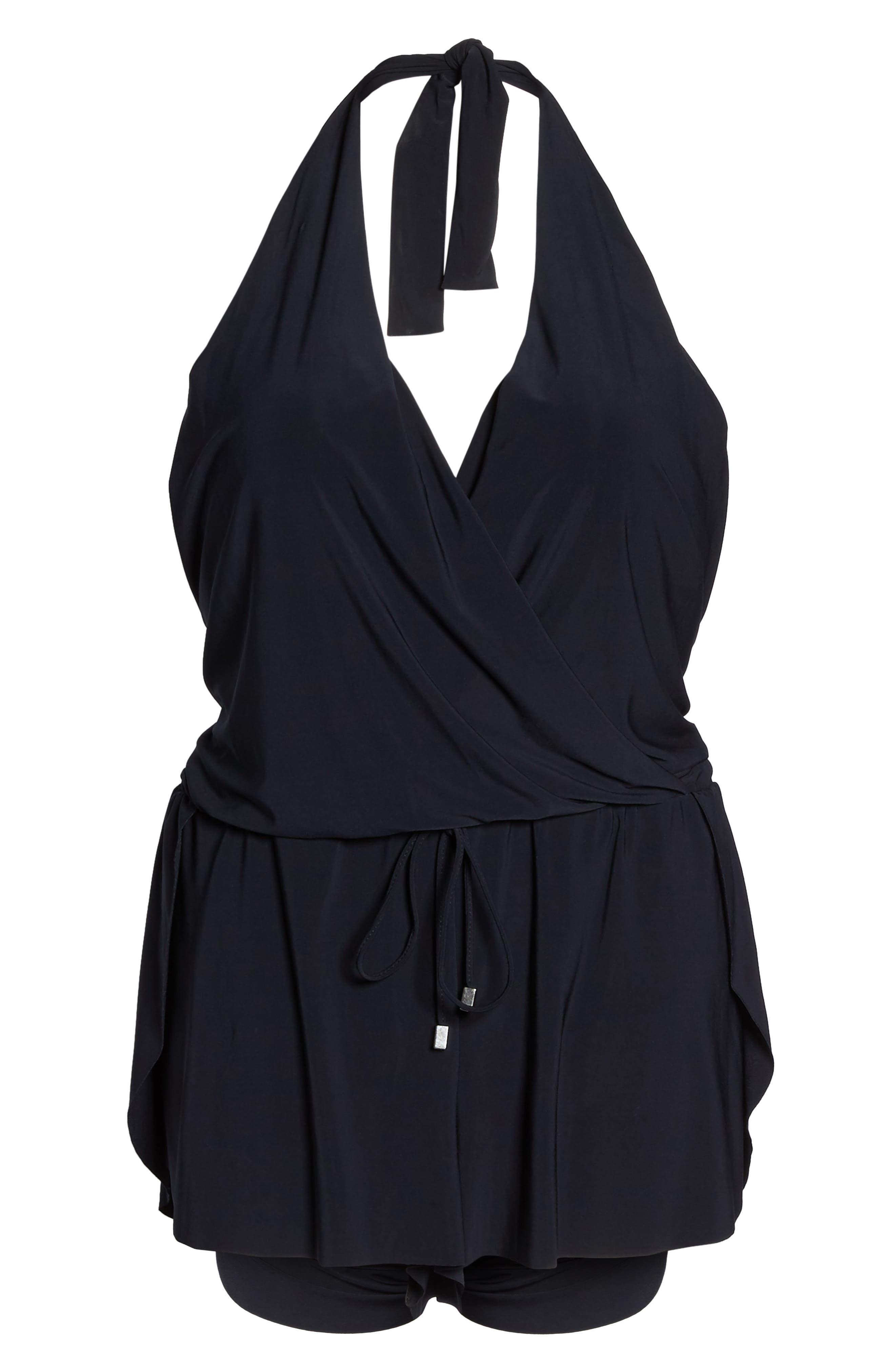 Bianca One-Piece Romper Swimsuit,                             Alternate thumbnail 6, color,                             Black