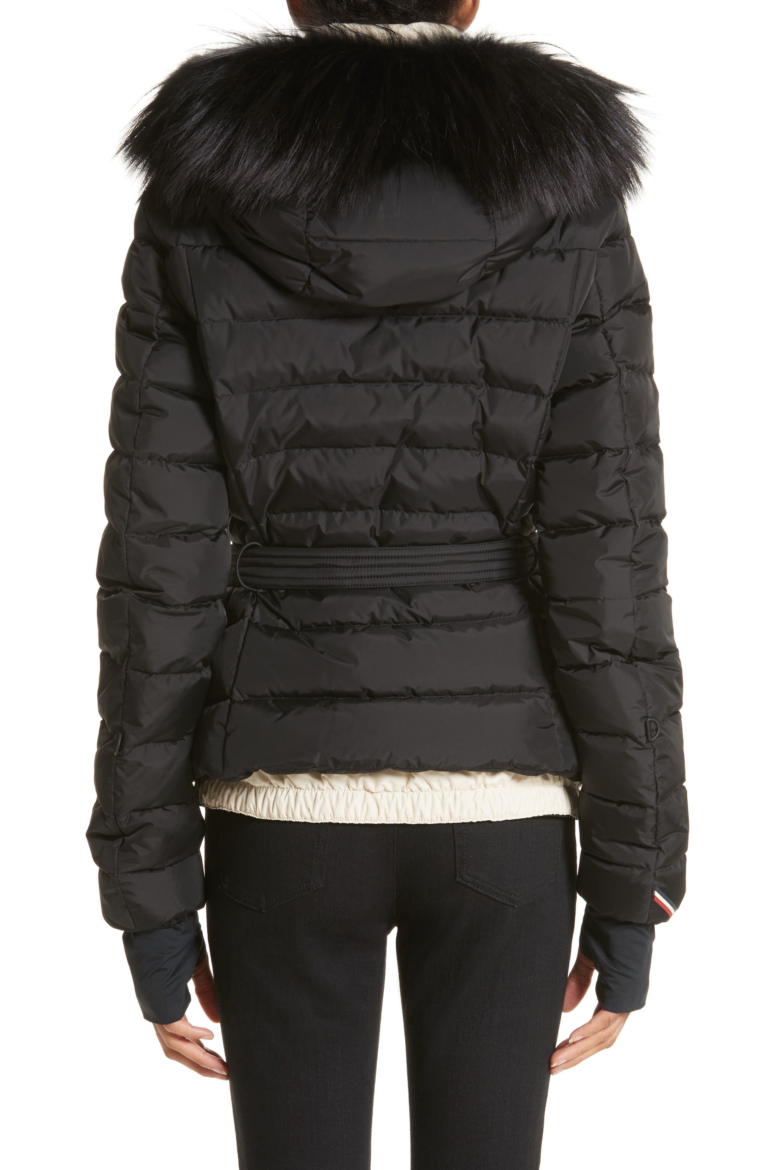 Beverley Quilted Down Jacket with Removable Genuine Fox Fur Trim,                             Alternate thumbnail 2, color,                             Black