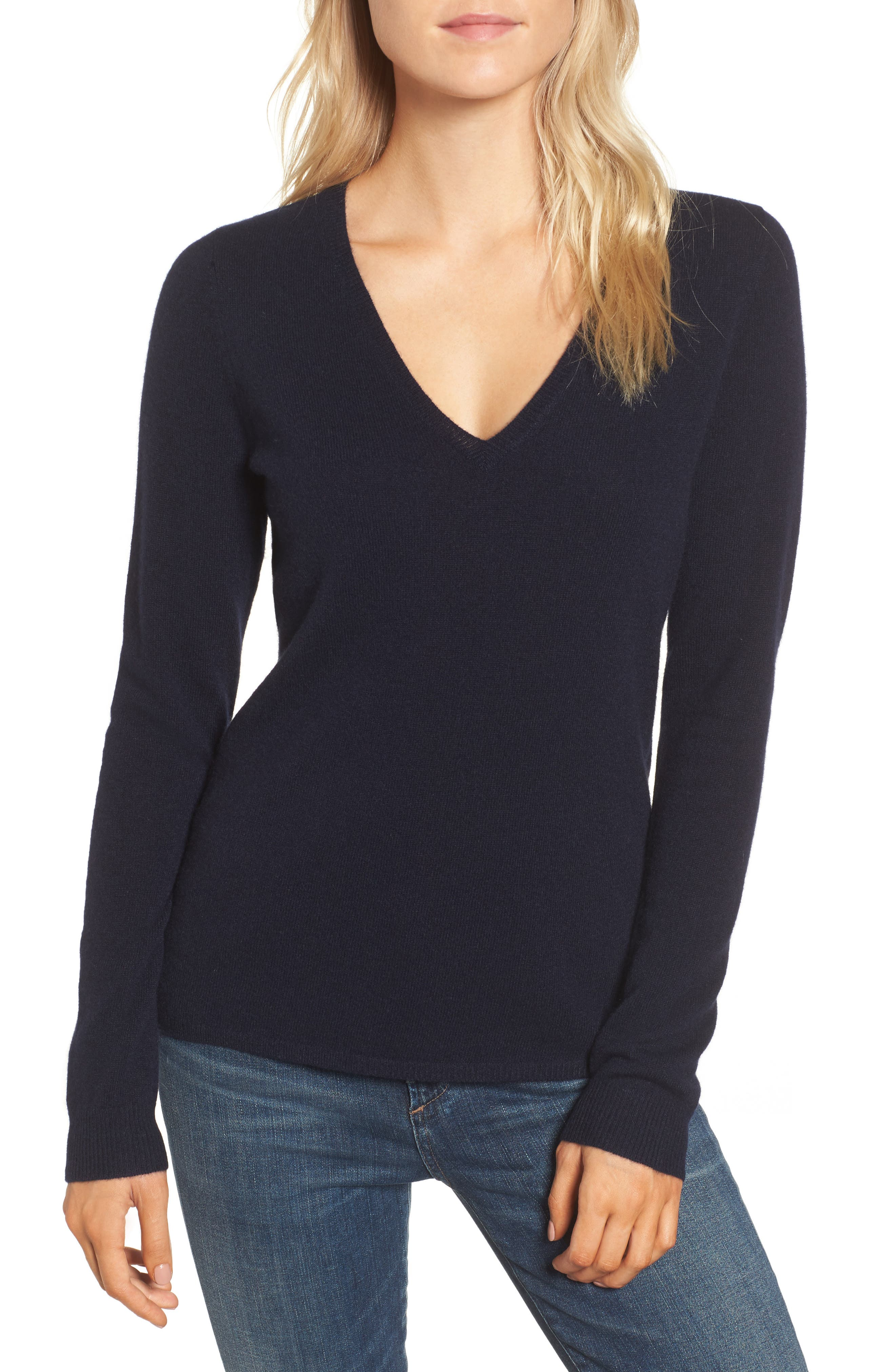 Cashmere V-Neck Sweater,                             Main thumbnail 1, color,                             French Navy