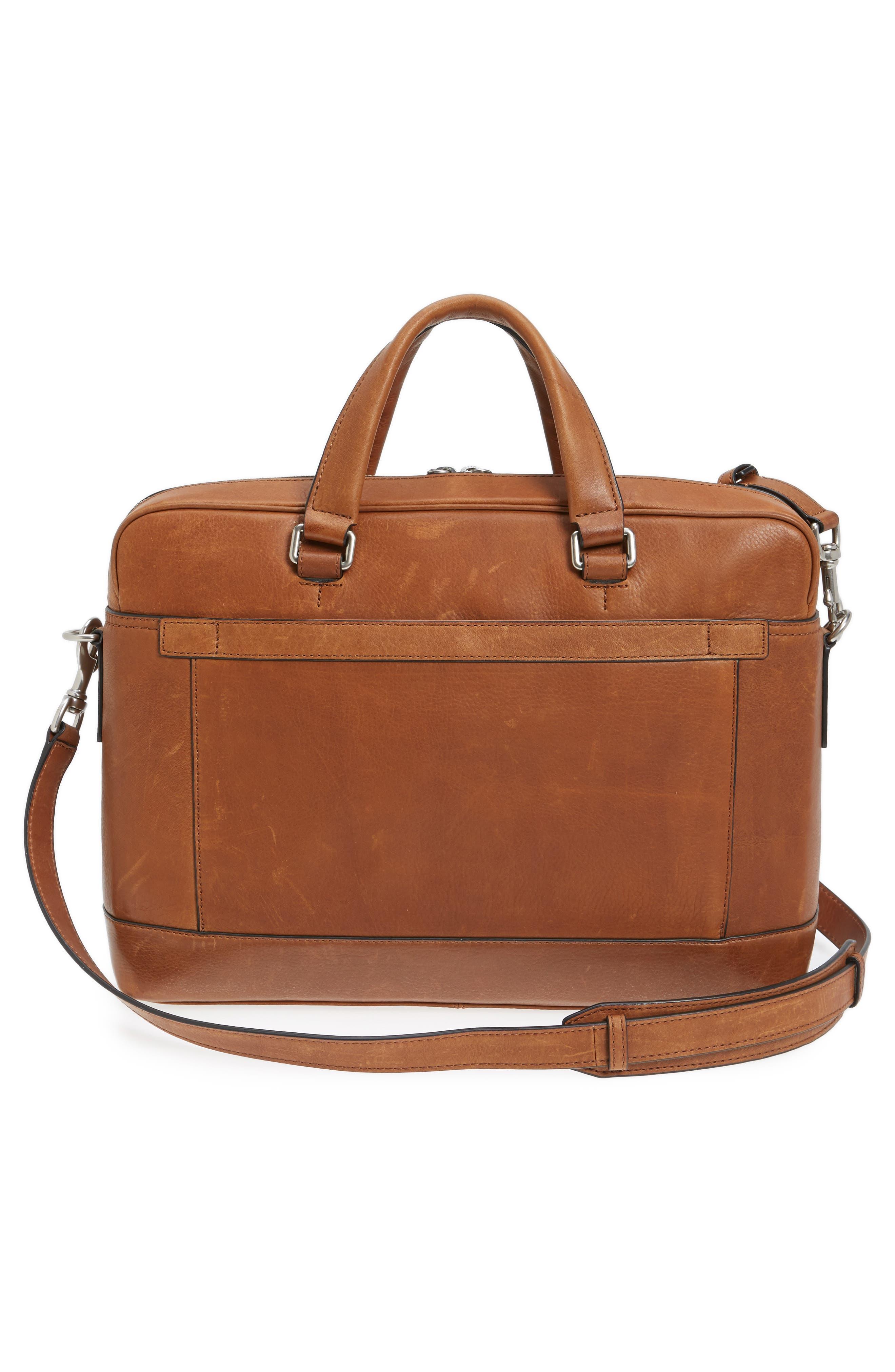 Oliver Leather Briefcase,                             Alternate thumbnail 3, color,                             Cognac