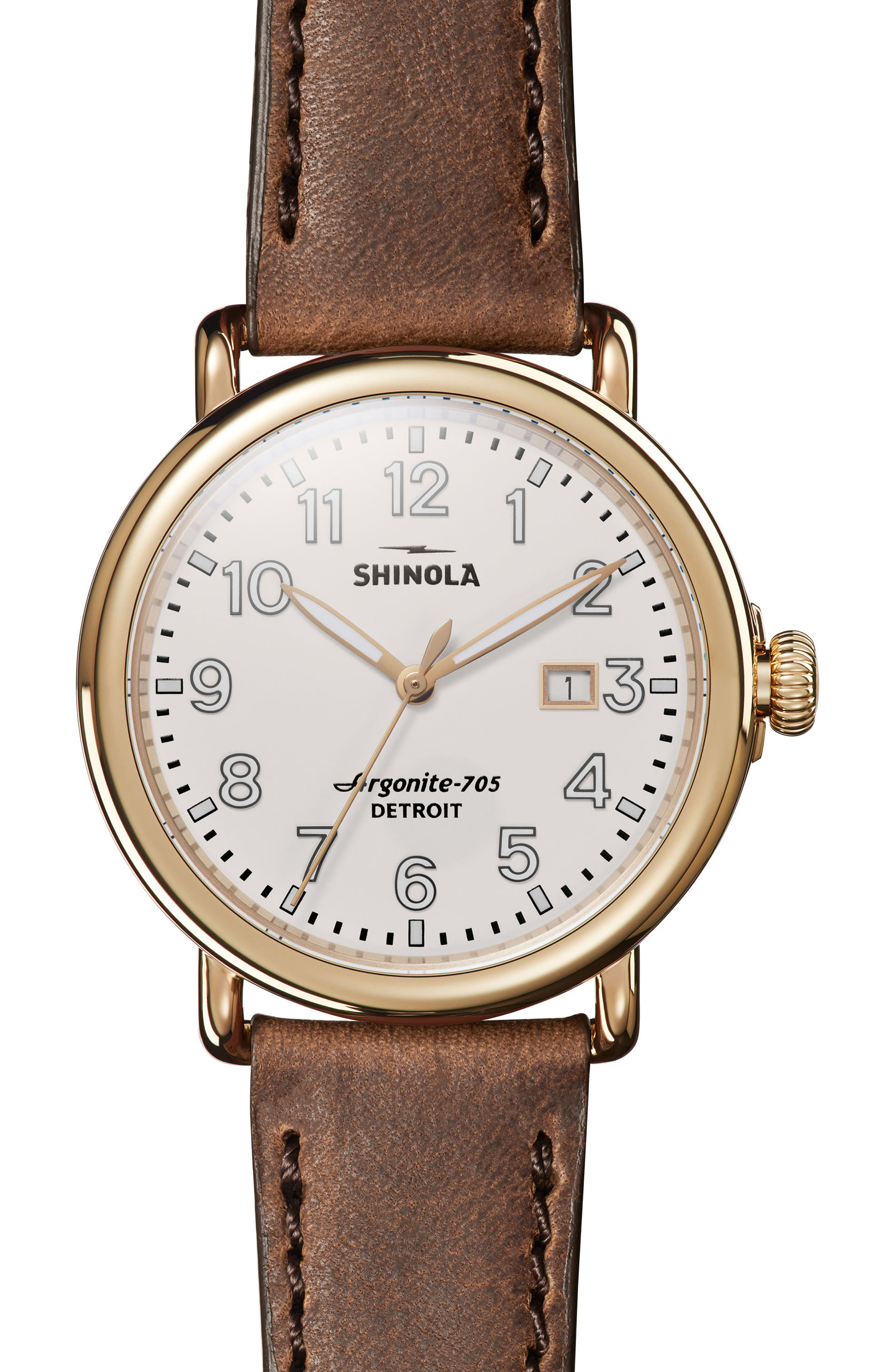 The Runwell Leather Strap Watch, 41mm,                         Main,                         color, Brown/ Beige/ Gold