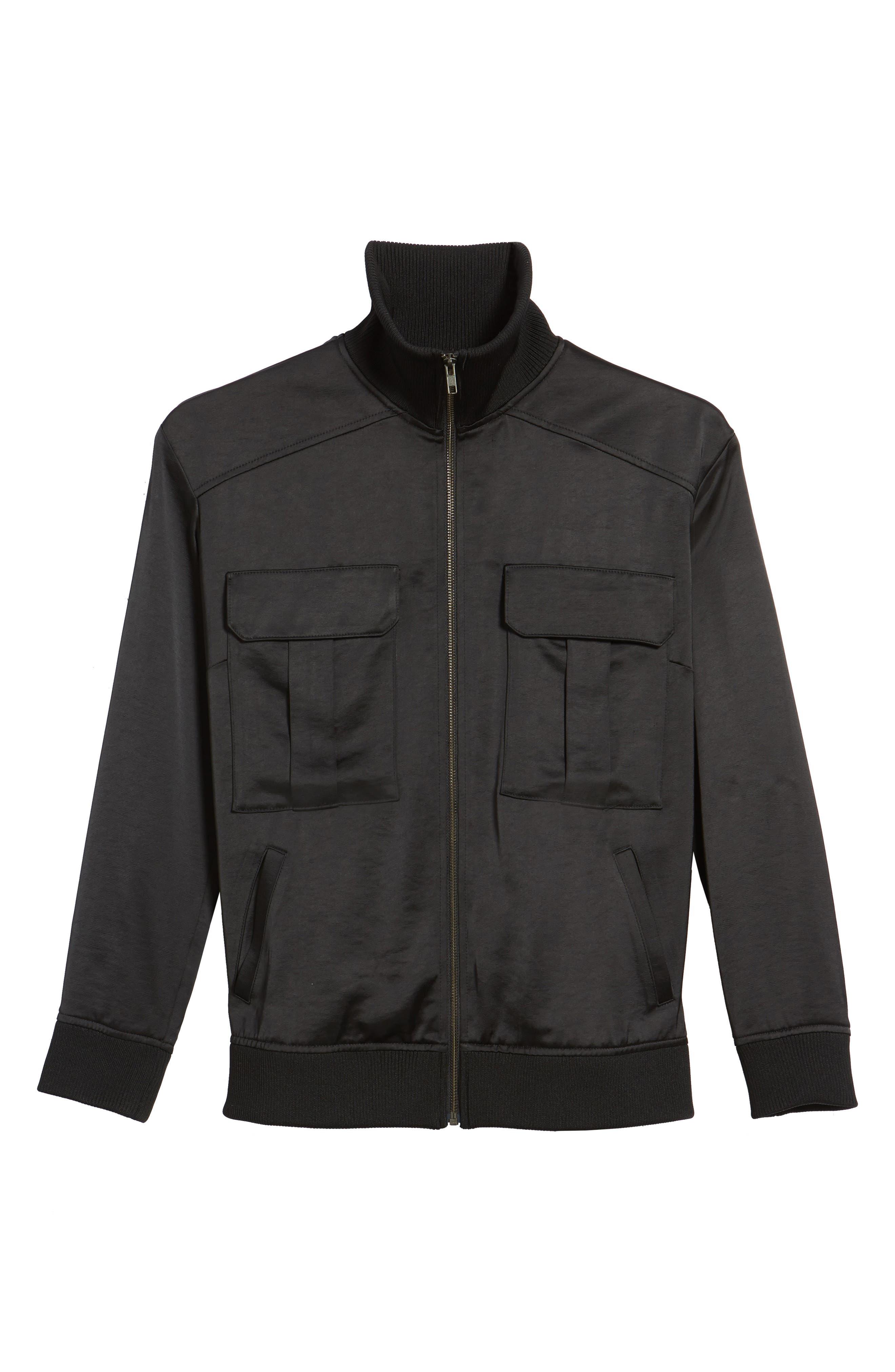 Satin Track Jacket,                             Alternate thumbnail 6, color,                             Black