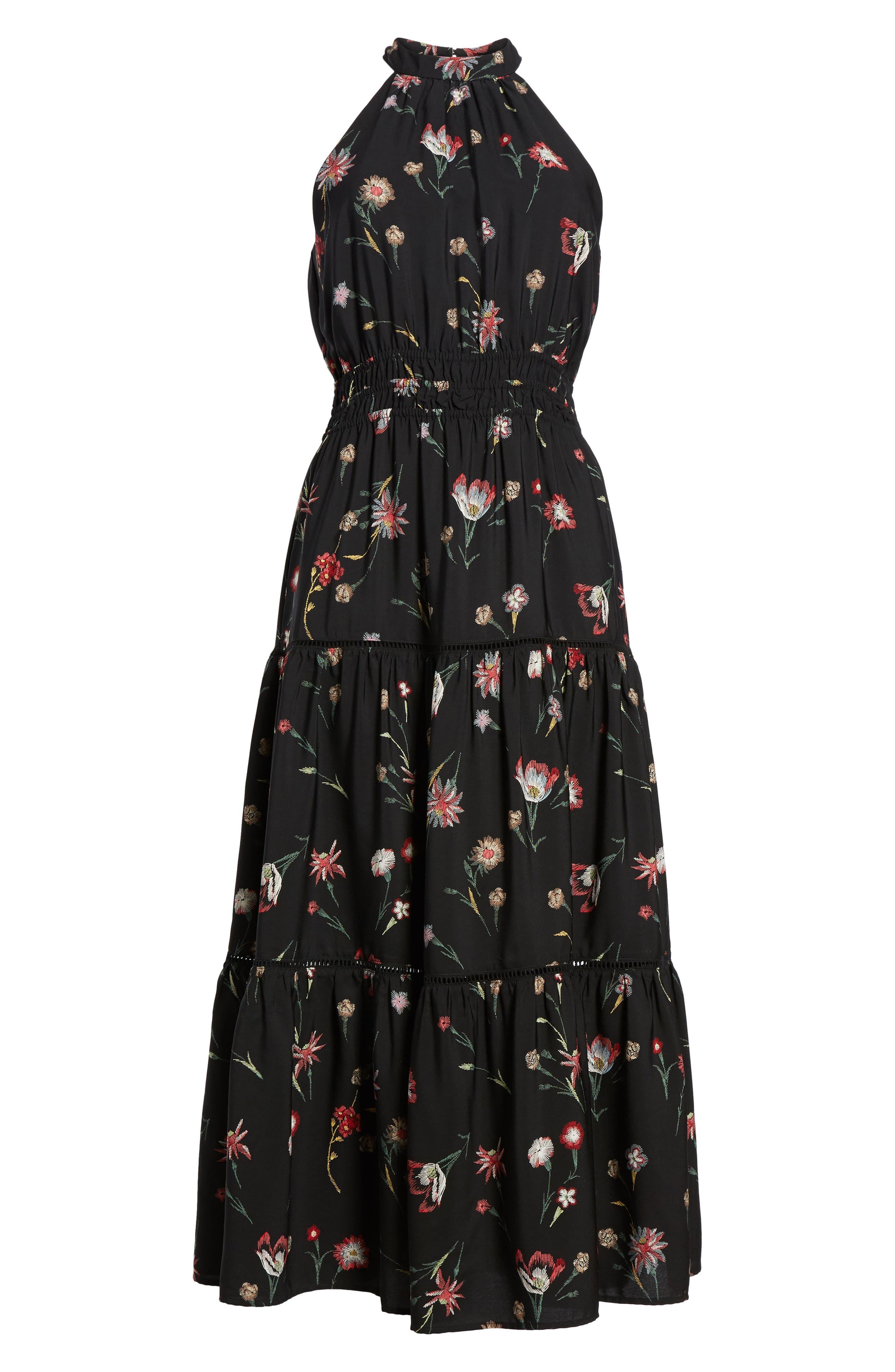 Fleur Halter Midi Dress,                             Alternate thumbnail 6, color,                             Black Floral