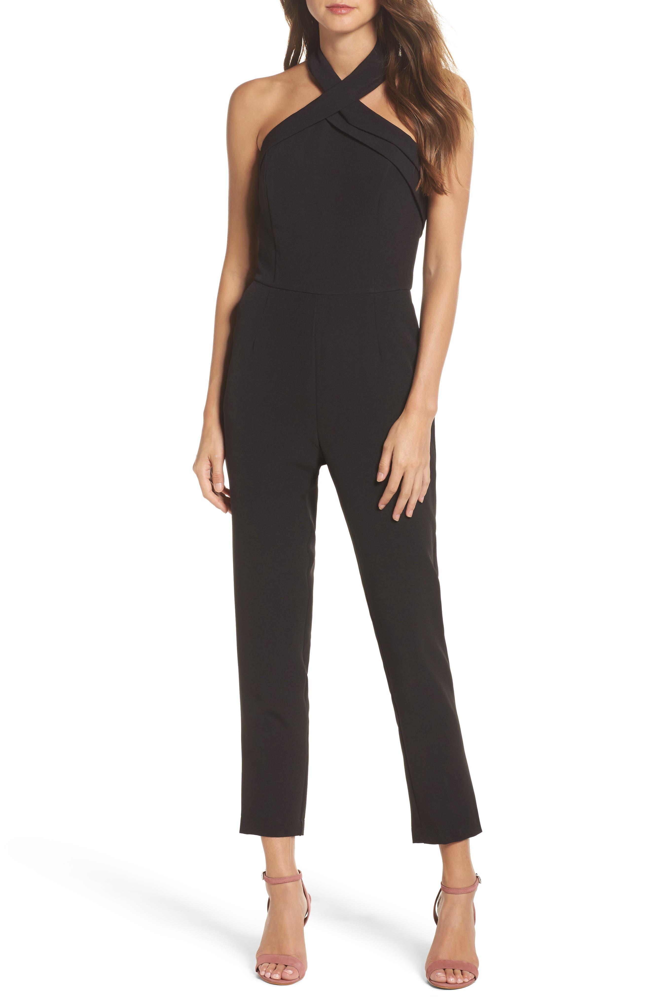 Halter Jumpsuit,                         Main,                         color, Black