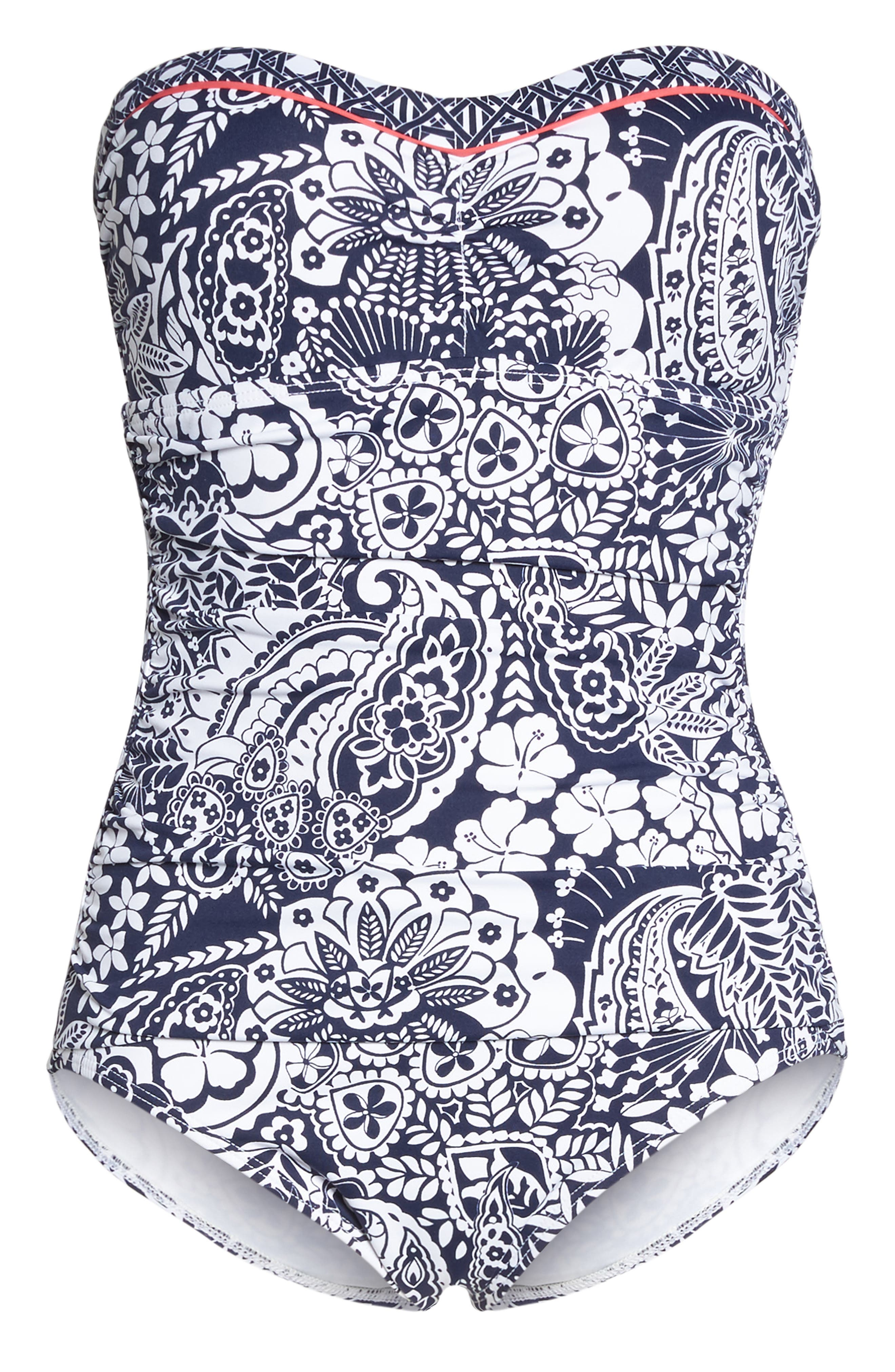 Paisley Paradise Bandeau One-Piece Swimsuit,                             Alternate thumbnail 6, color,                             Mare Navy