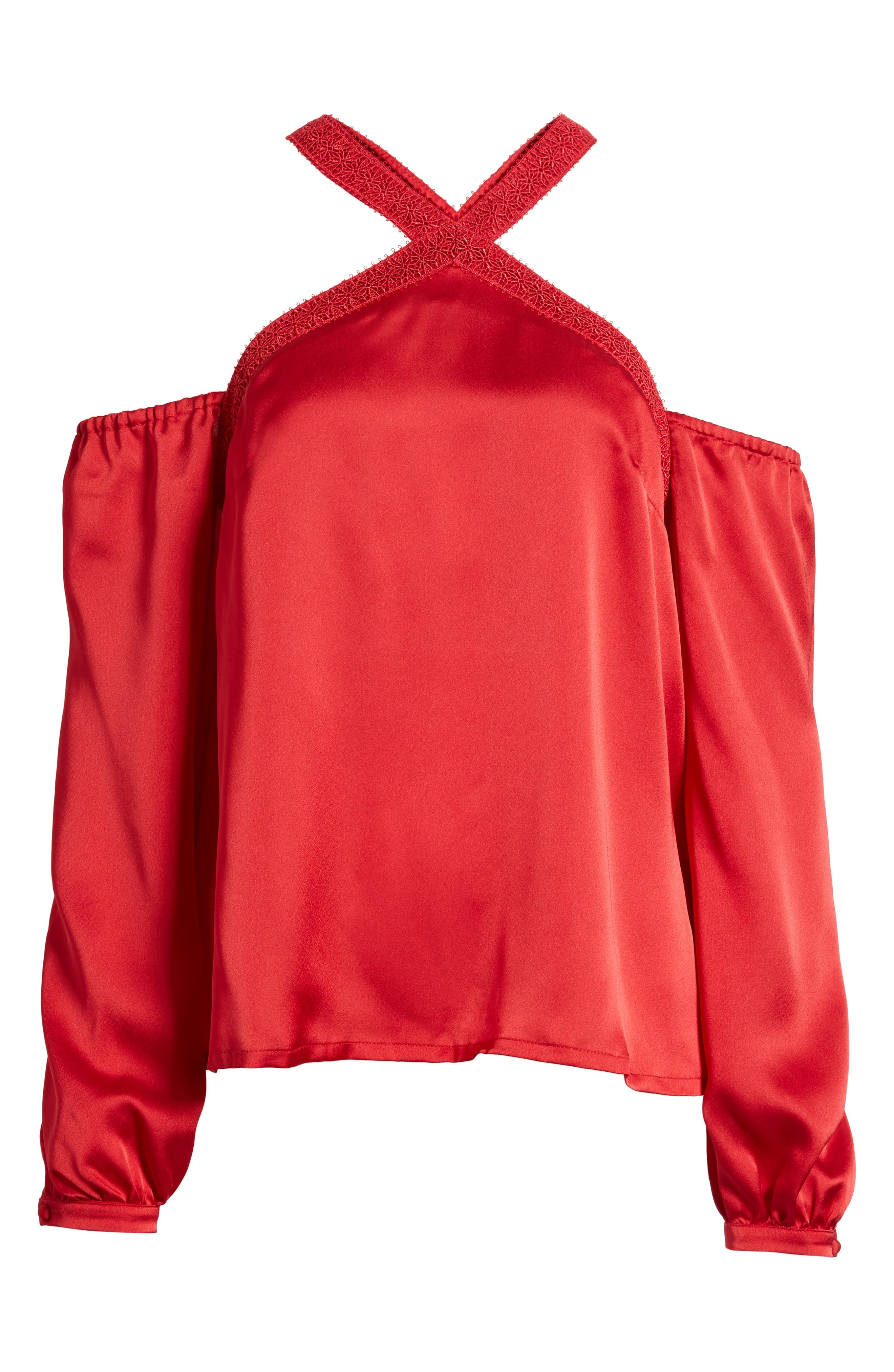 Evening Sun Cold Shoulder Blouse,                             Alternate thumbnail 6, color,                             Red