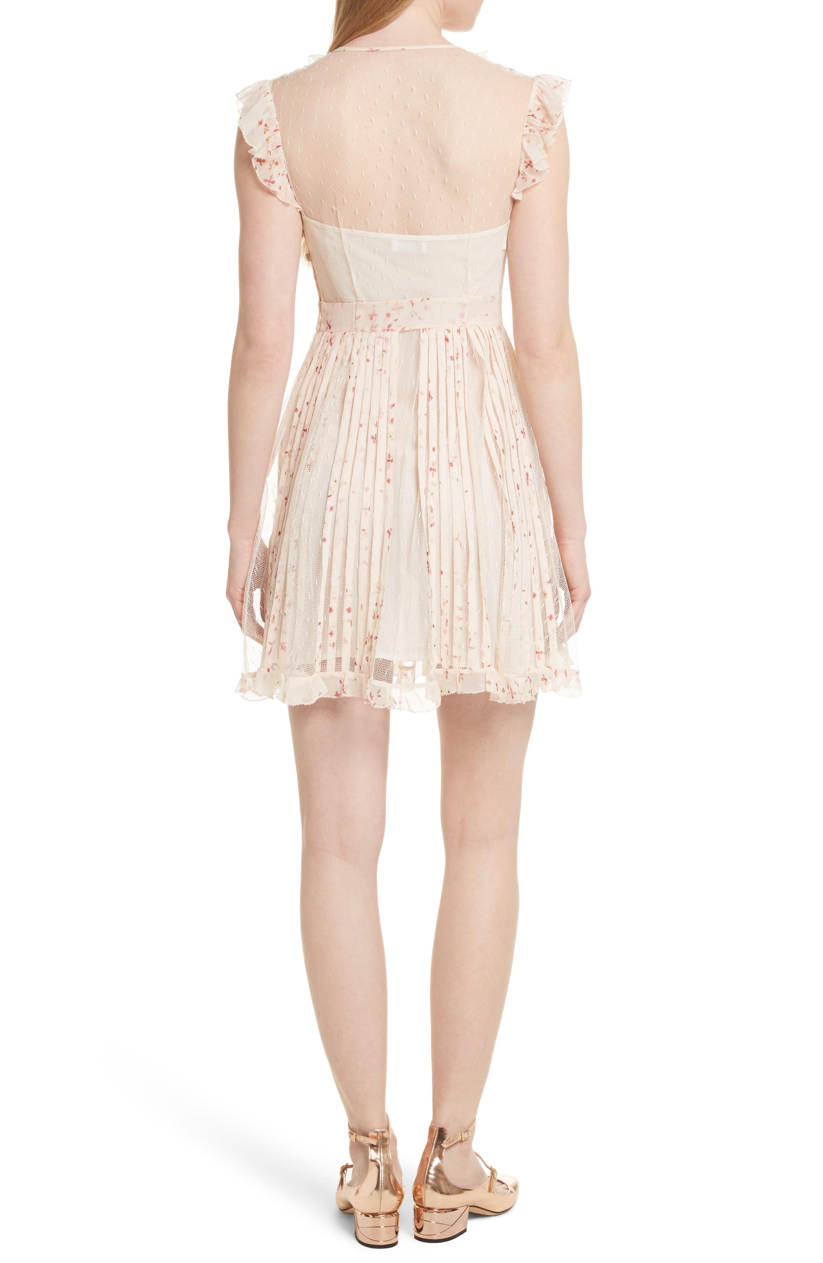 Point dEsprit Ruffle Trim Dress,                             Alternate thumbnail 2, color,                             Ivory