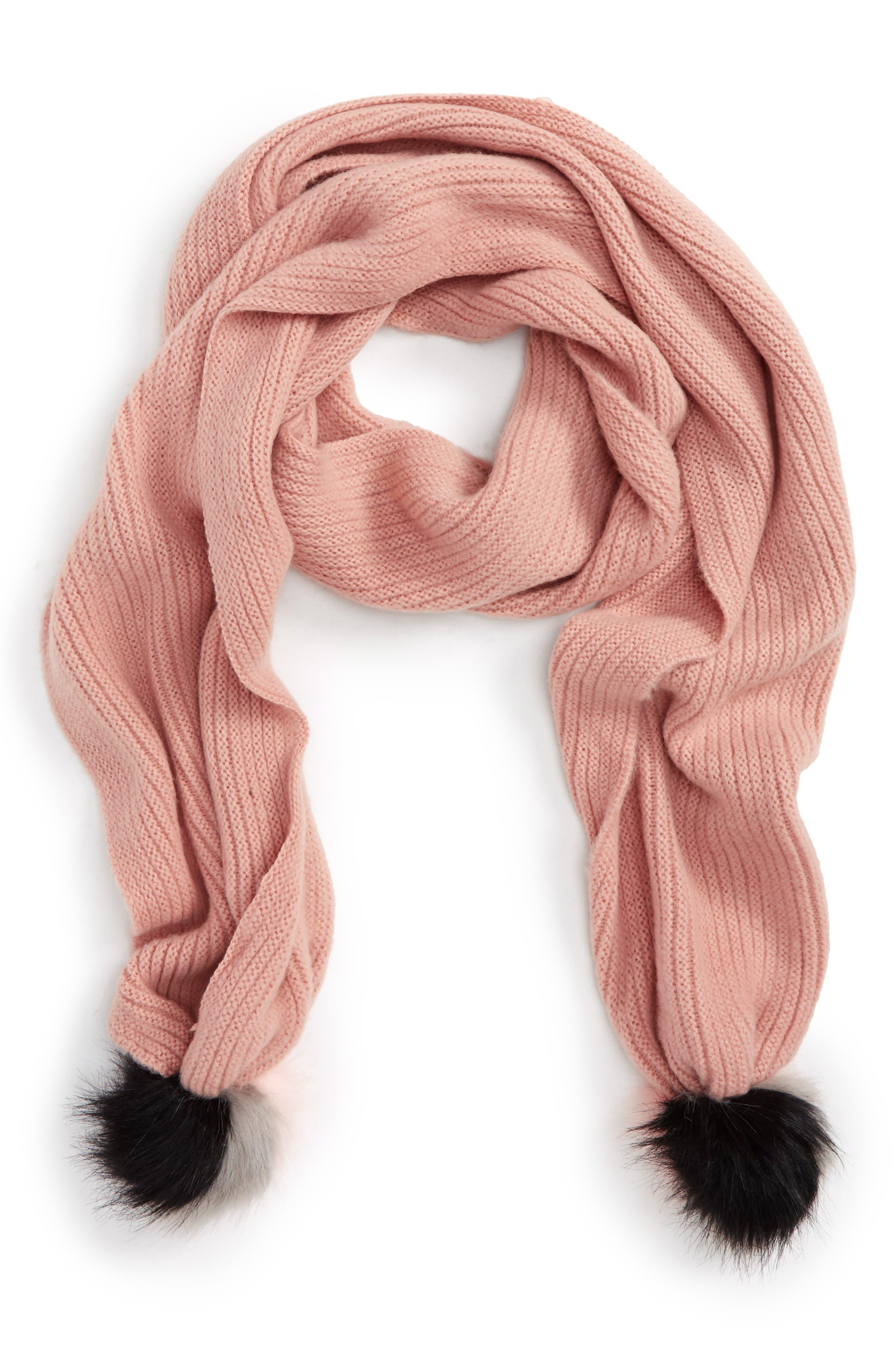 BP. Faux Fur Pom Knit Scarf