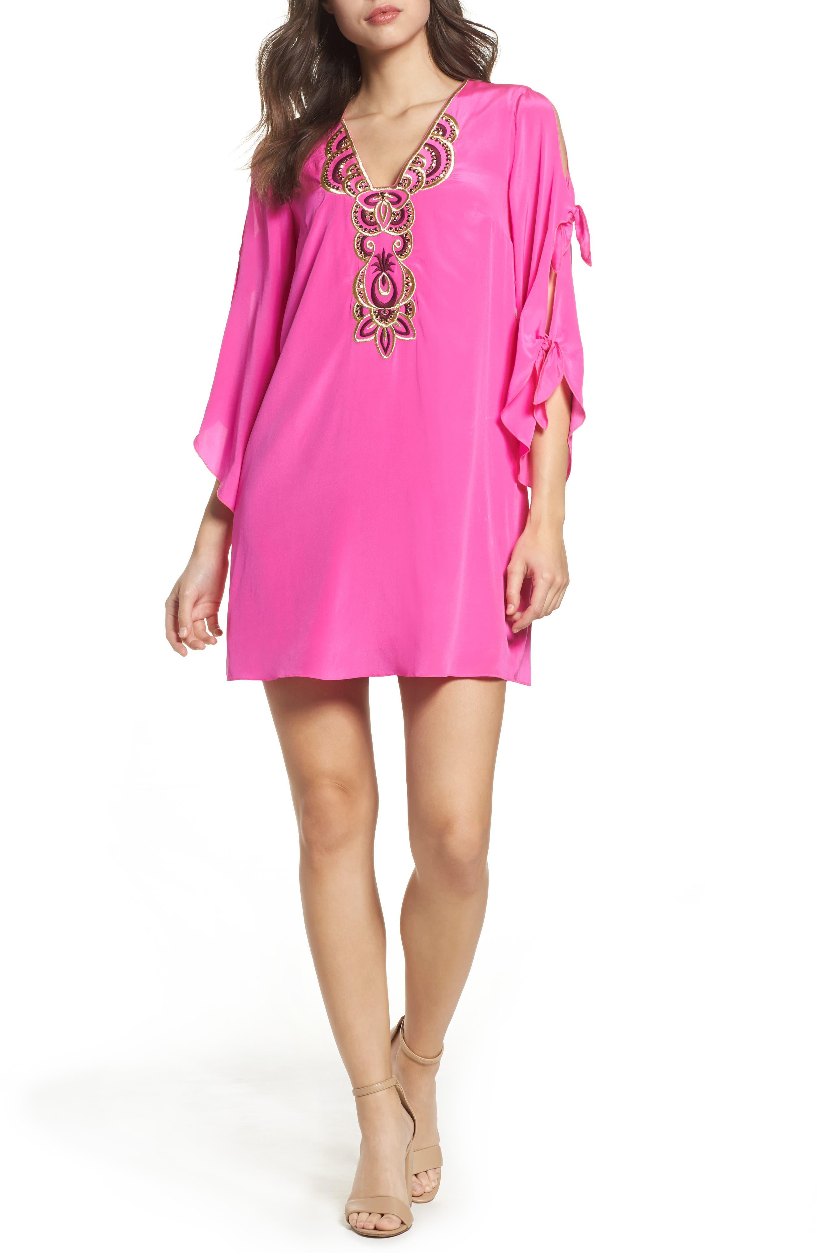 Stretch Silk Tunic Dress,                         Main,                         color, Berry Fizz