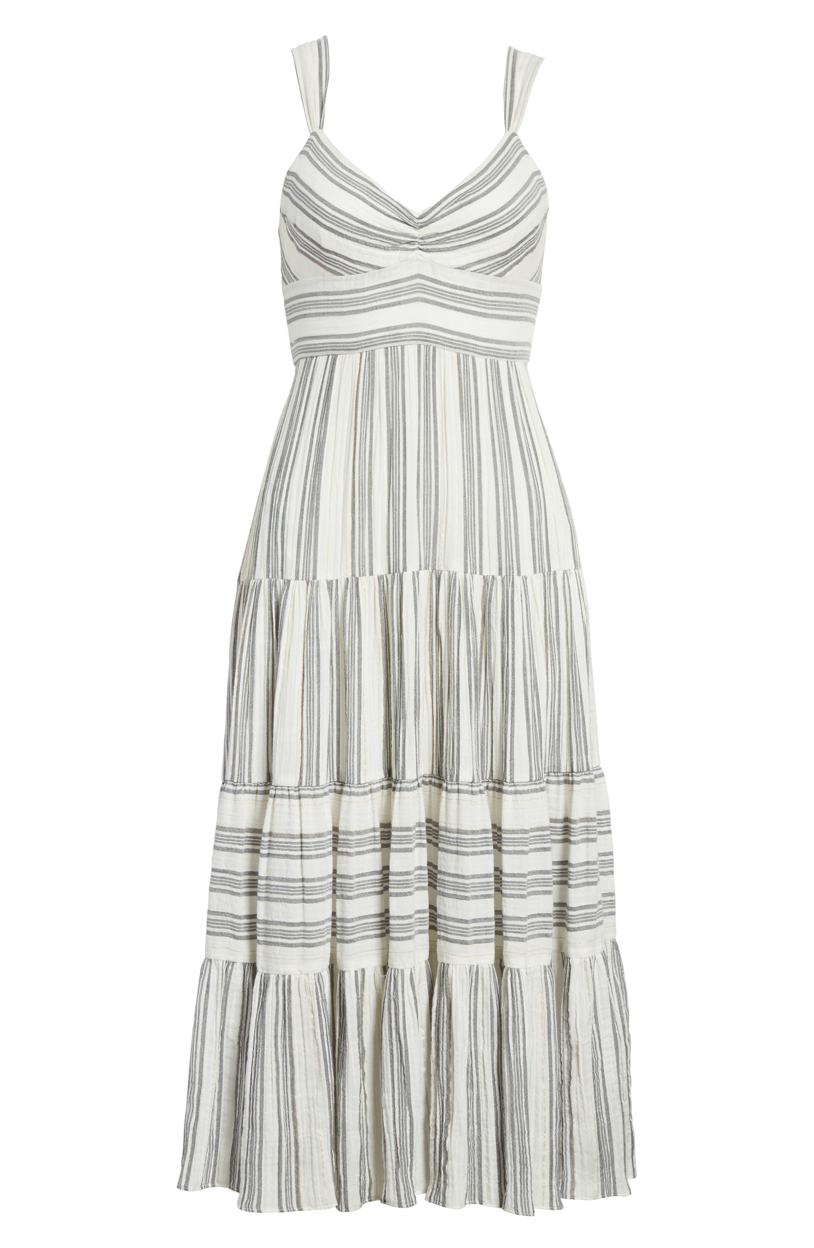 Sleeveless Gauzy Stripe Dress,                             Alternate thumbnail 6, color,                             Milk/ Washed Black Combo