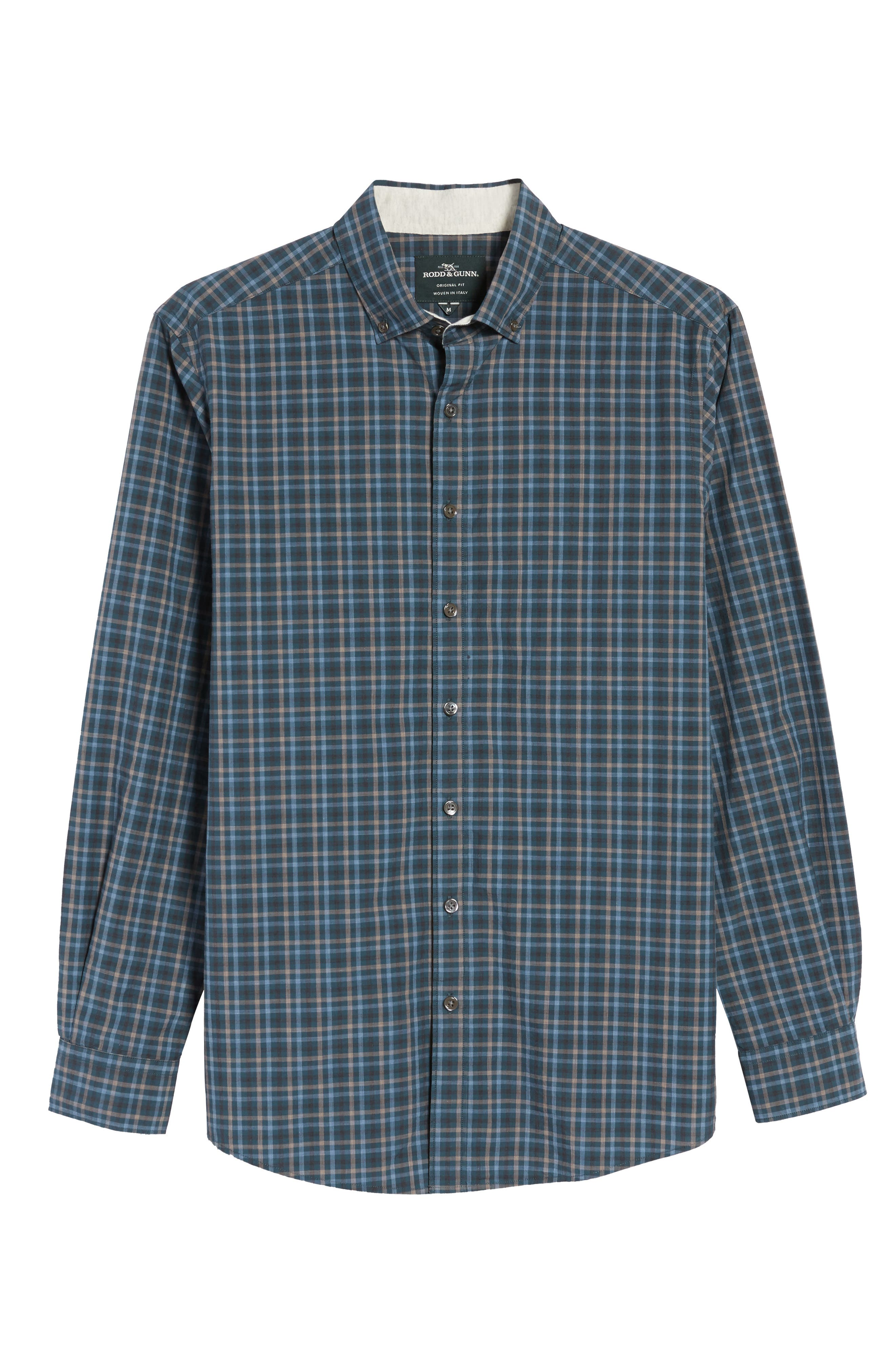 Rock and Pillar Check Sport Shirt,                             Alternate thumbnail 6, color,                             Forest