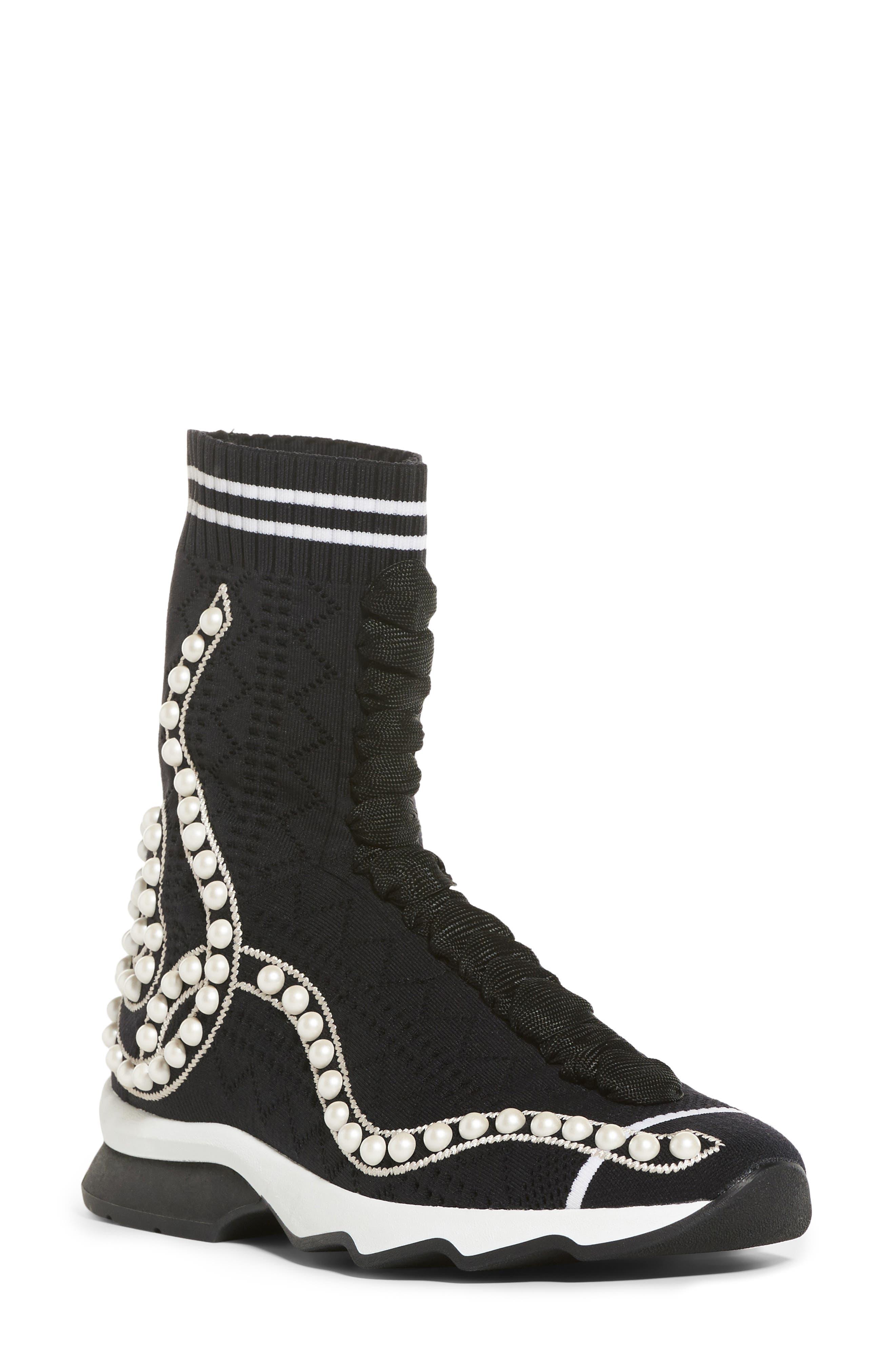 Fendi Rockoko Pearland Embellished Sock Sneaker (Women)