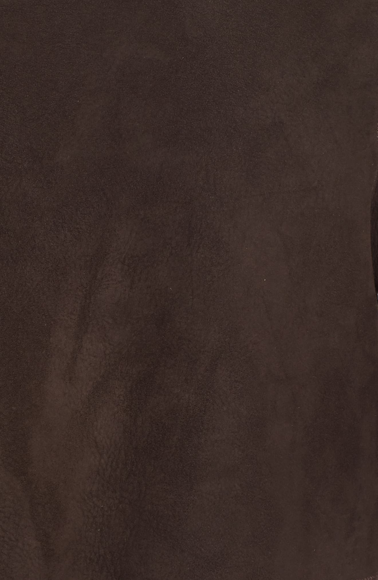 Hooded Genuine Shearling Coat,                             Alternate thumbnail 5, color,                             Walnut