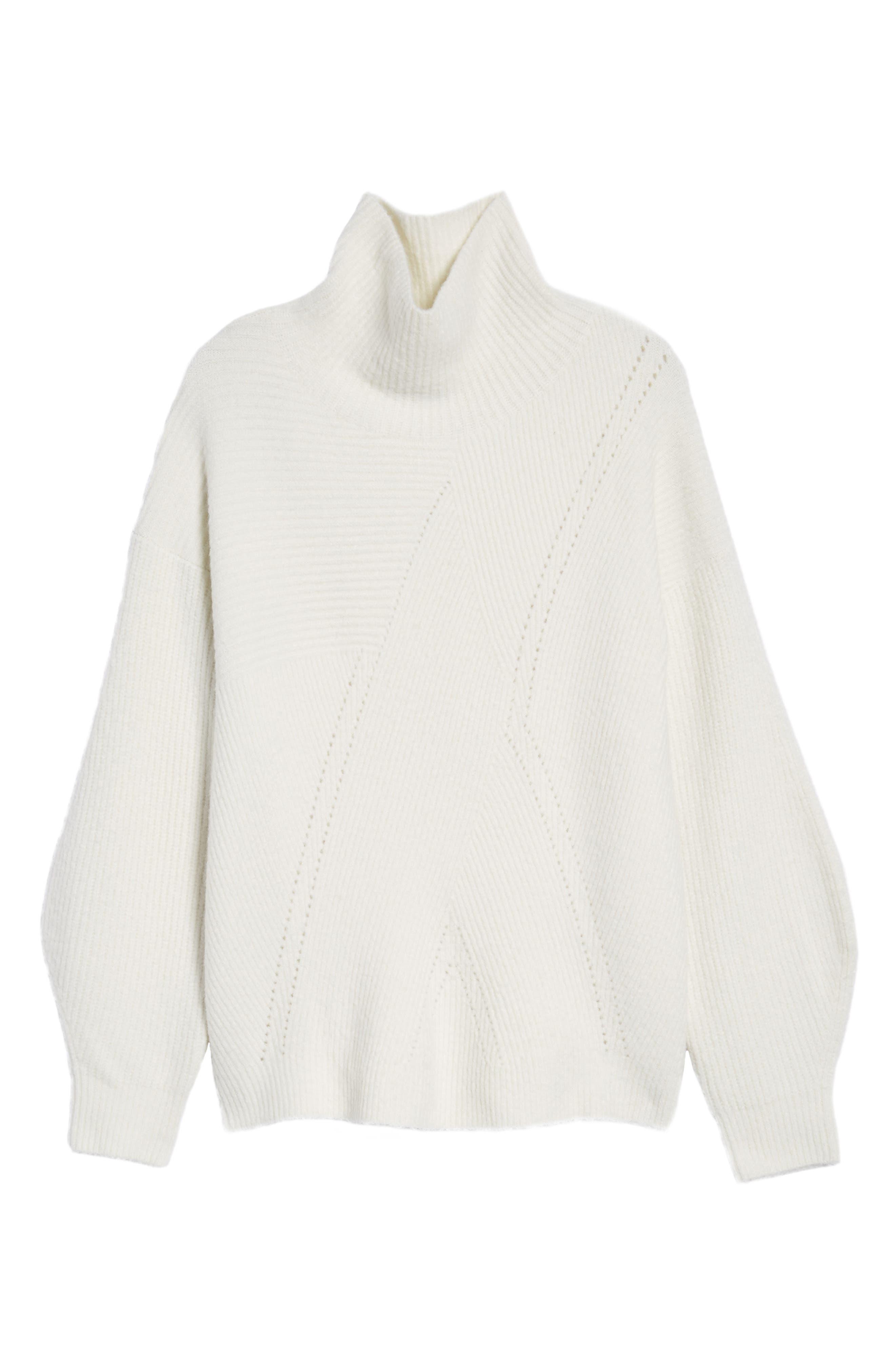 Funnel Neck Sweater,                             Alternate thumbnail 7, color,                             Ivory Vanilla