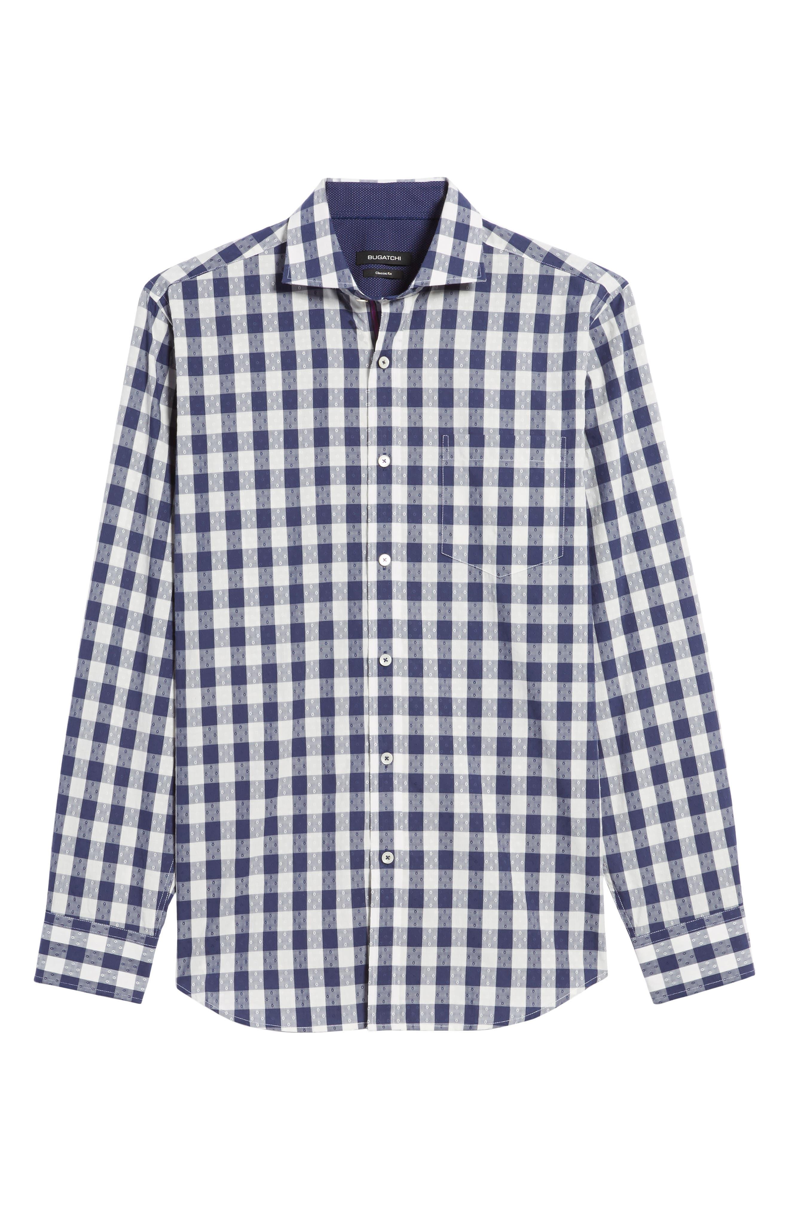 Classic Fit Dobby Gingham Sport Shirt,                             Alternate thumbnail 6, color,                             Navy