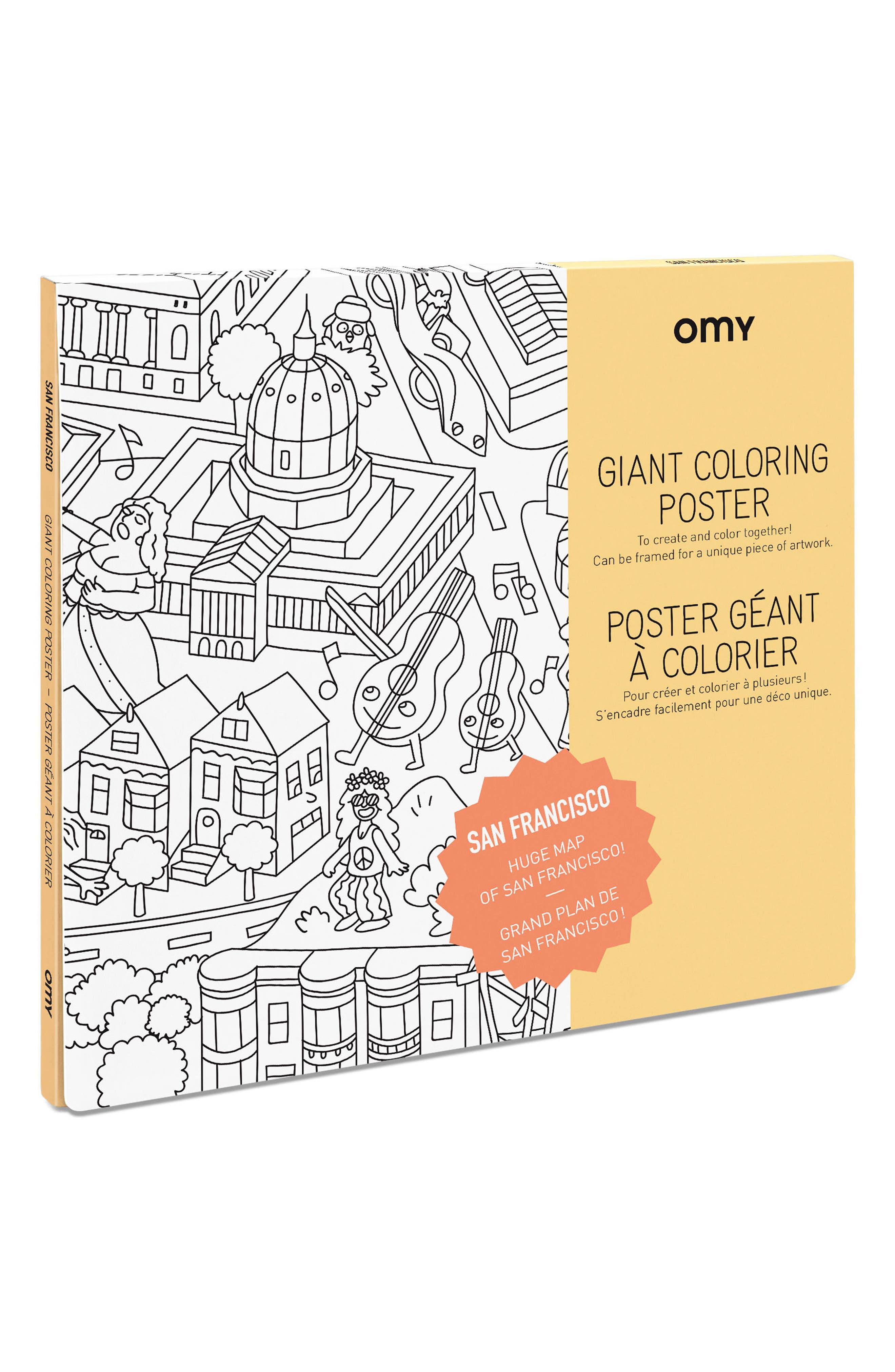San Francisco Giant Coloring Poster,                             Main thumbnail 1, color,                             San Francisco