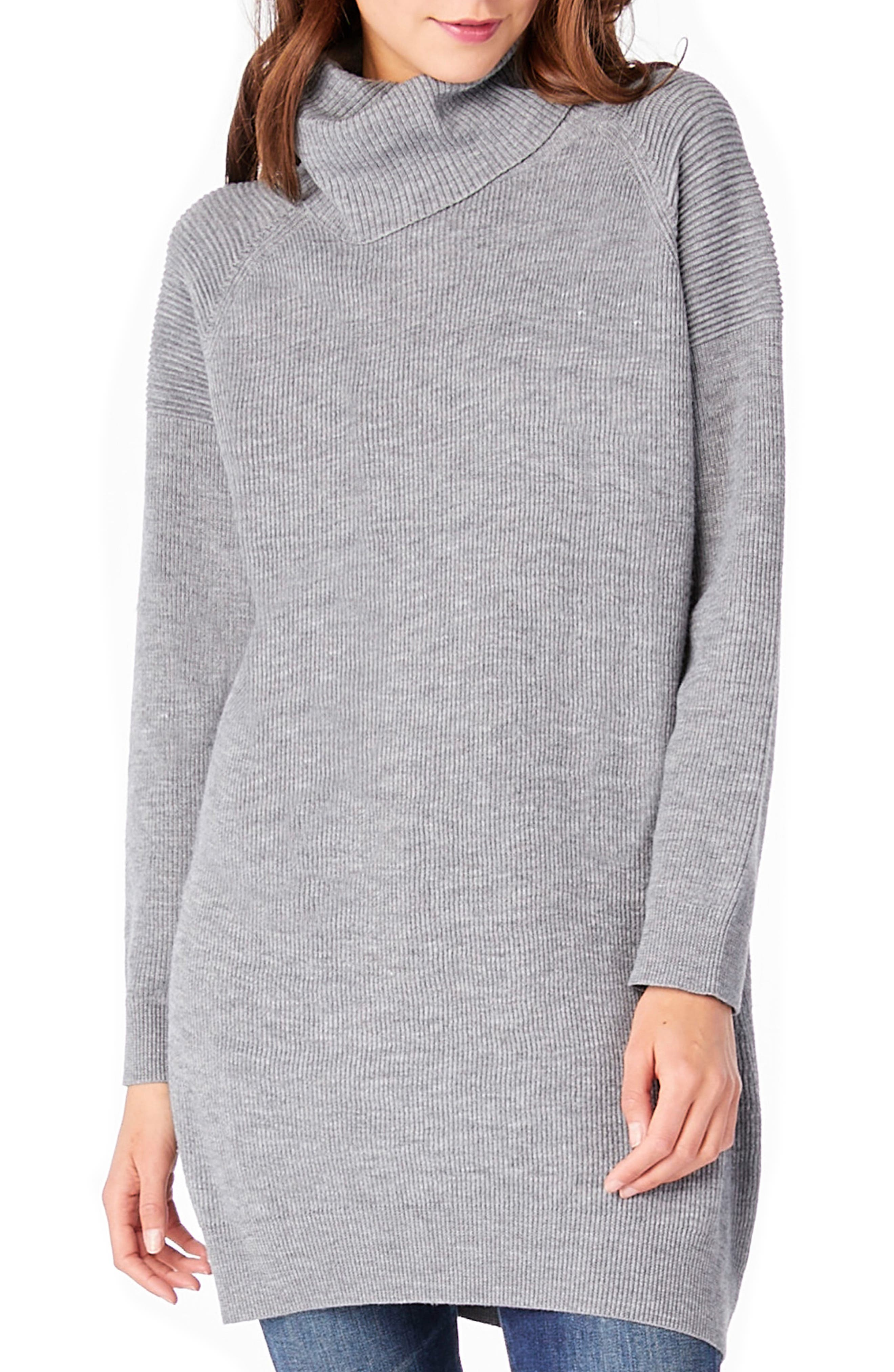 Cowl Neck Tunic,                             Main thumbnail 1, color,                             Heather Grey