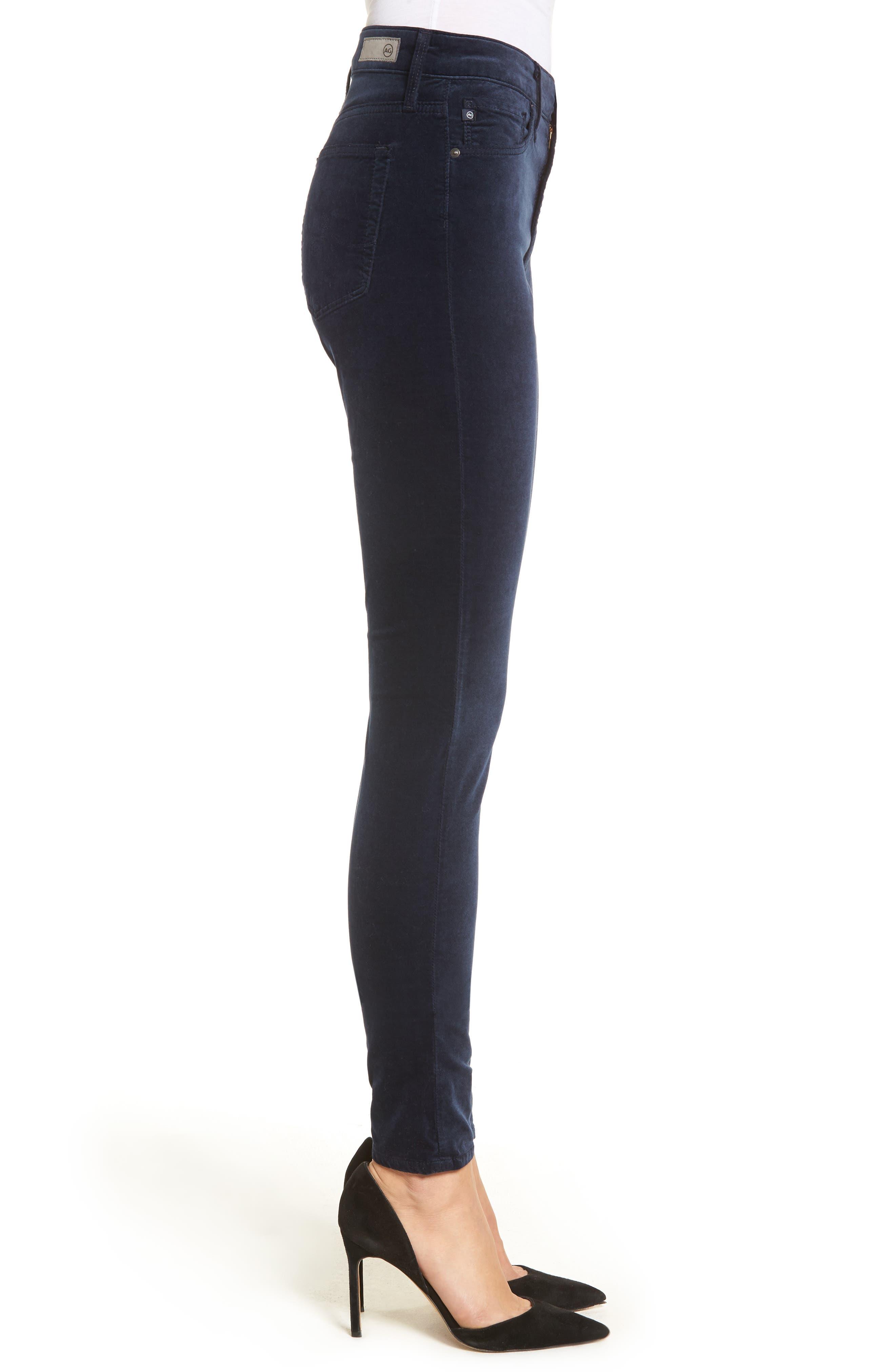 Alternate Image 3  - AG The Farrah High Waist Velvet Jeans